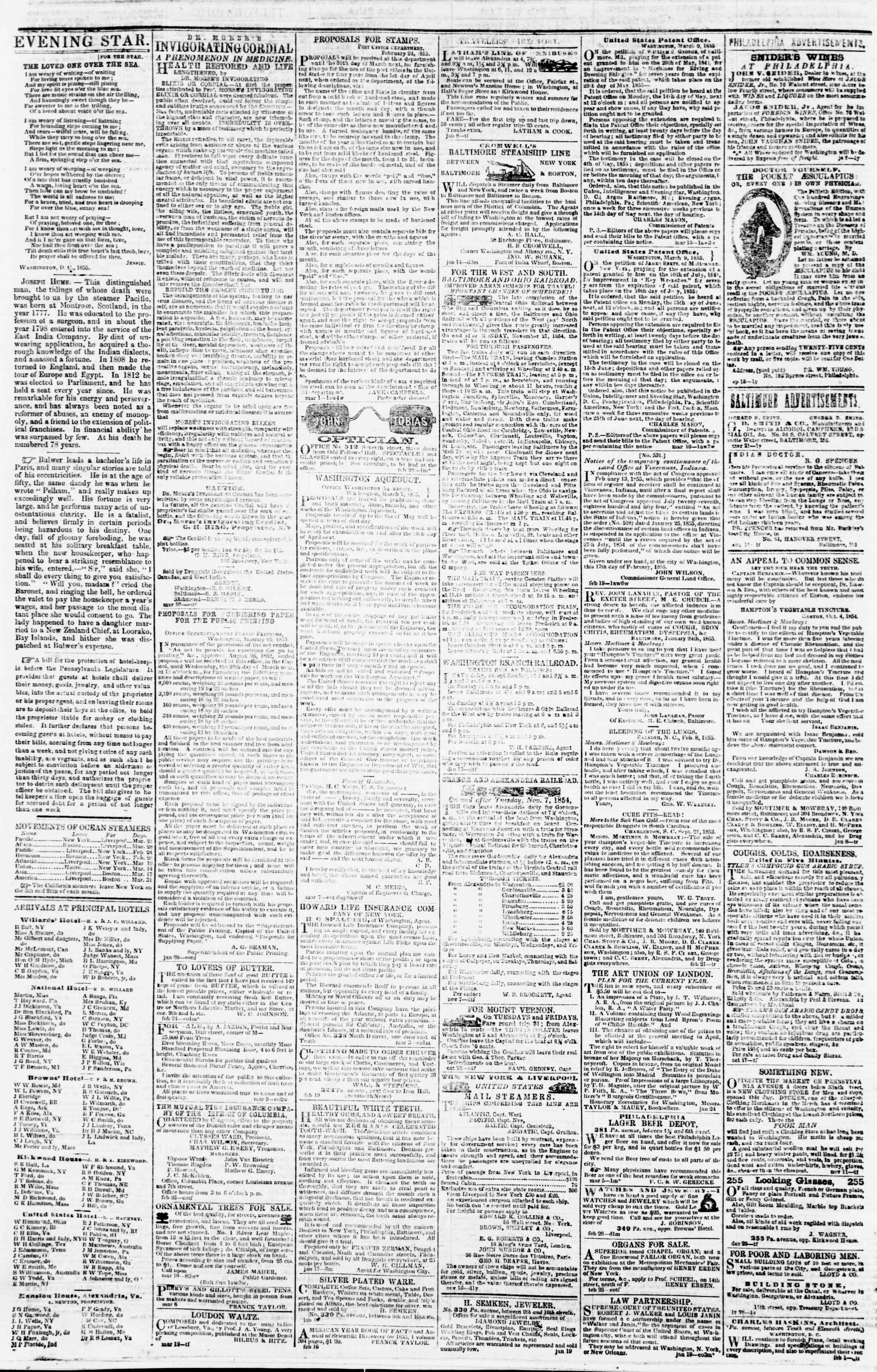 Newspaper of Evening Star dated March 19, 1855 Page 4