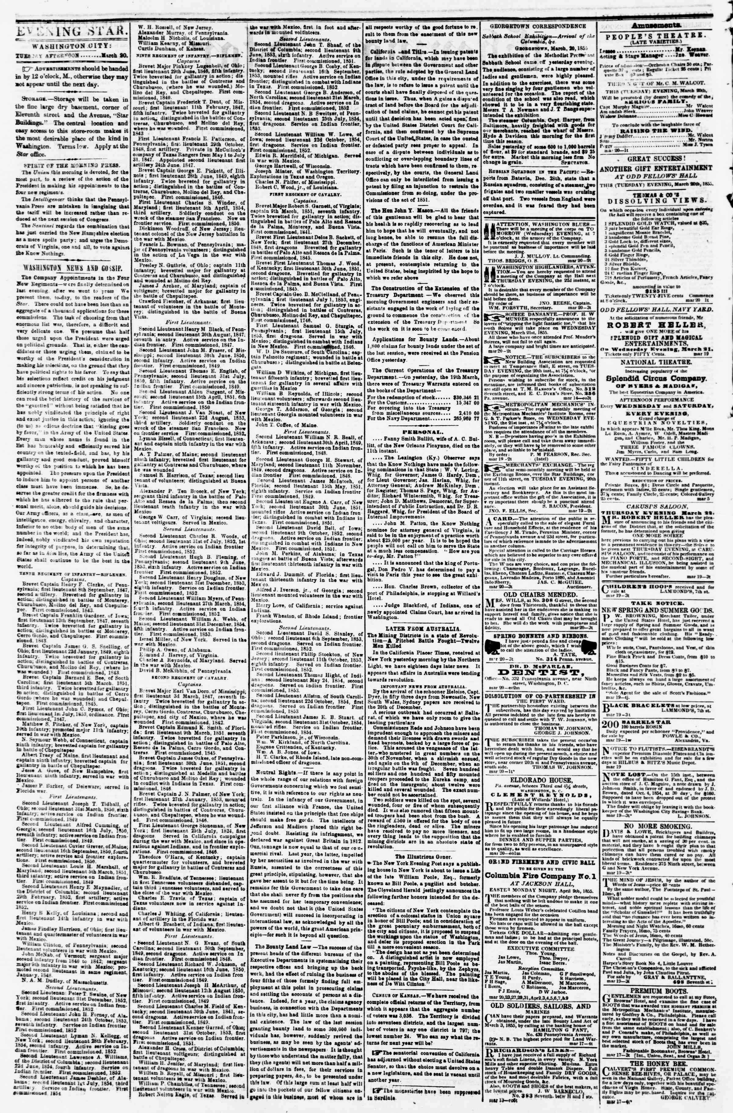 Newspaper of Evening Star dated March 20, 1855 Page 2