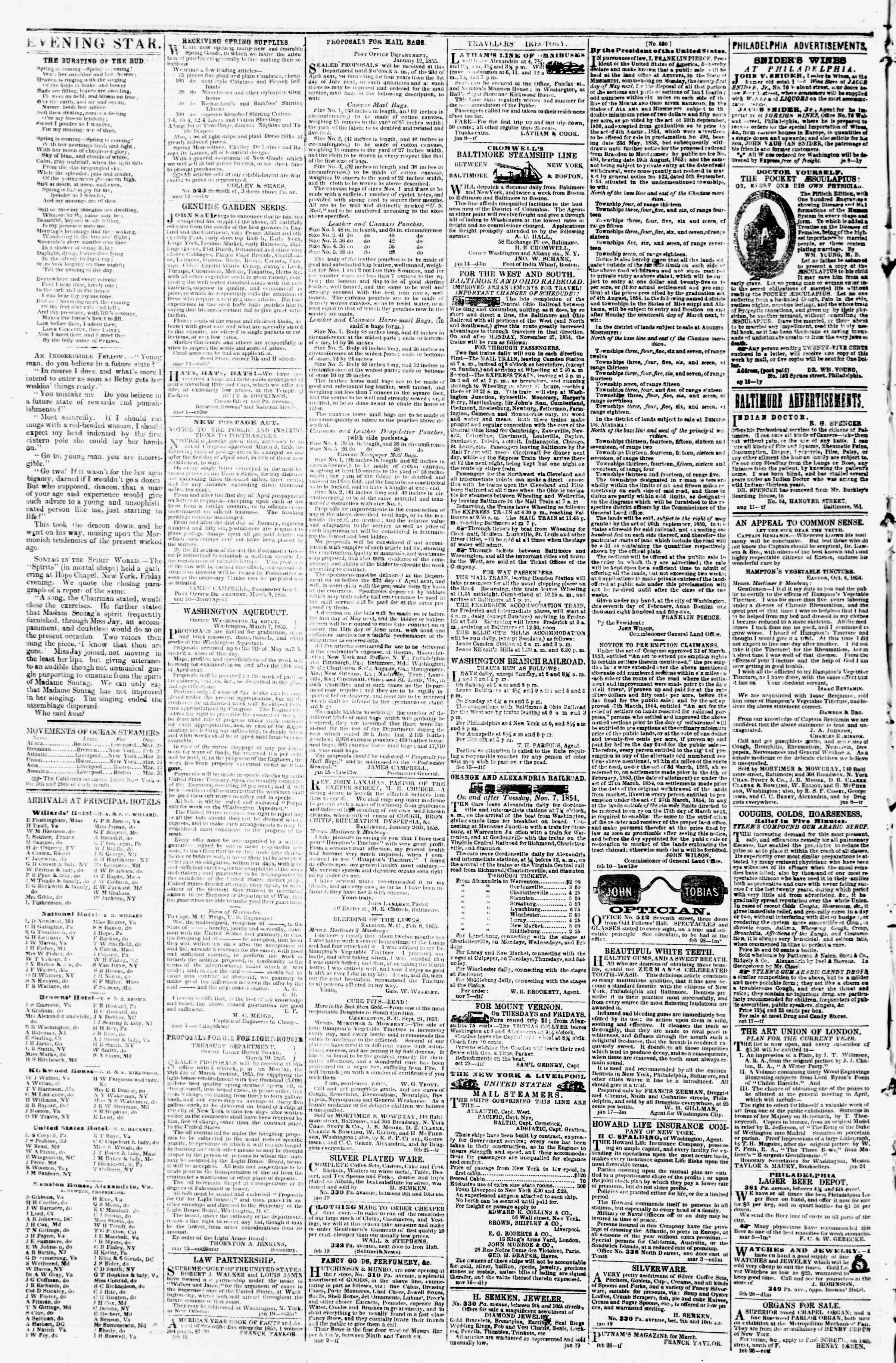 Newspaper of Evening Star dated March 21, 1855 Page 4