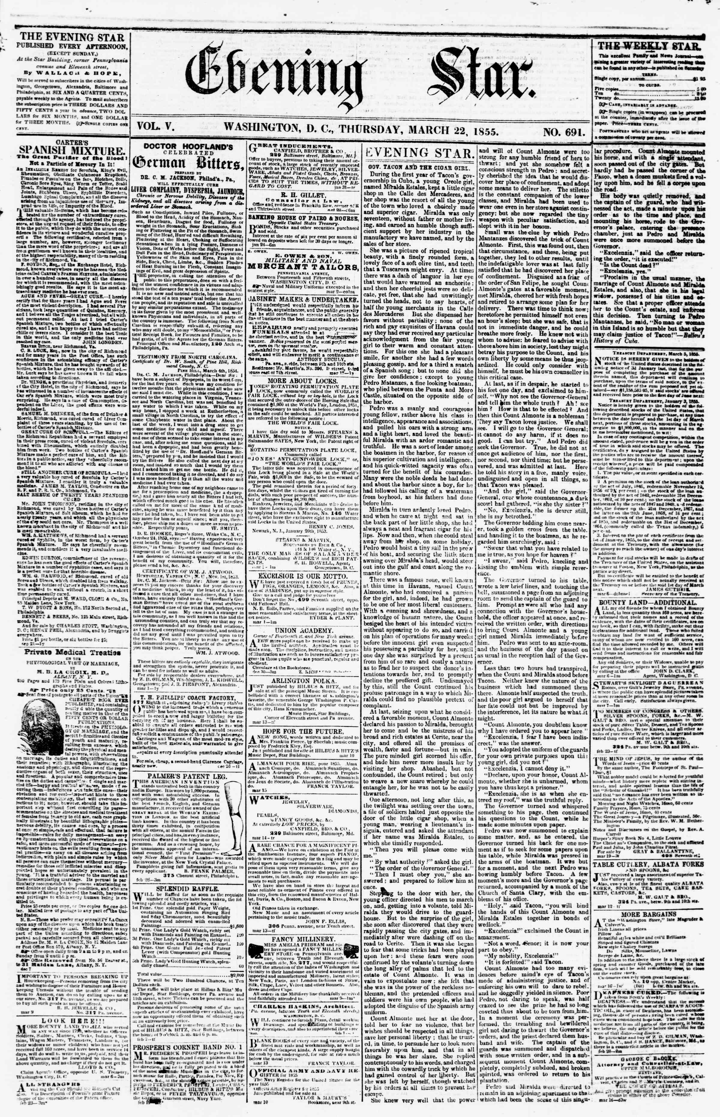 Newspaper of Evening Star dated March 22, 1855 Page 1