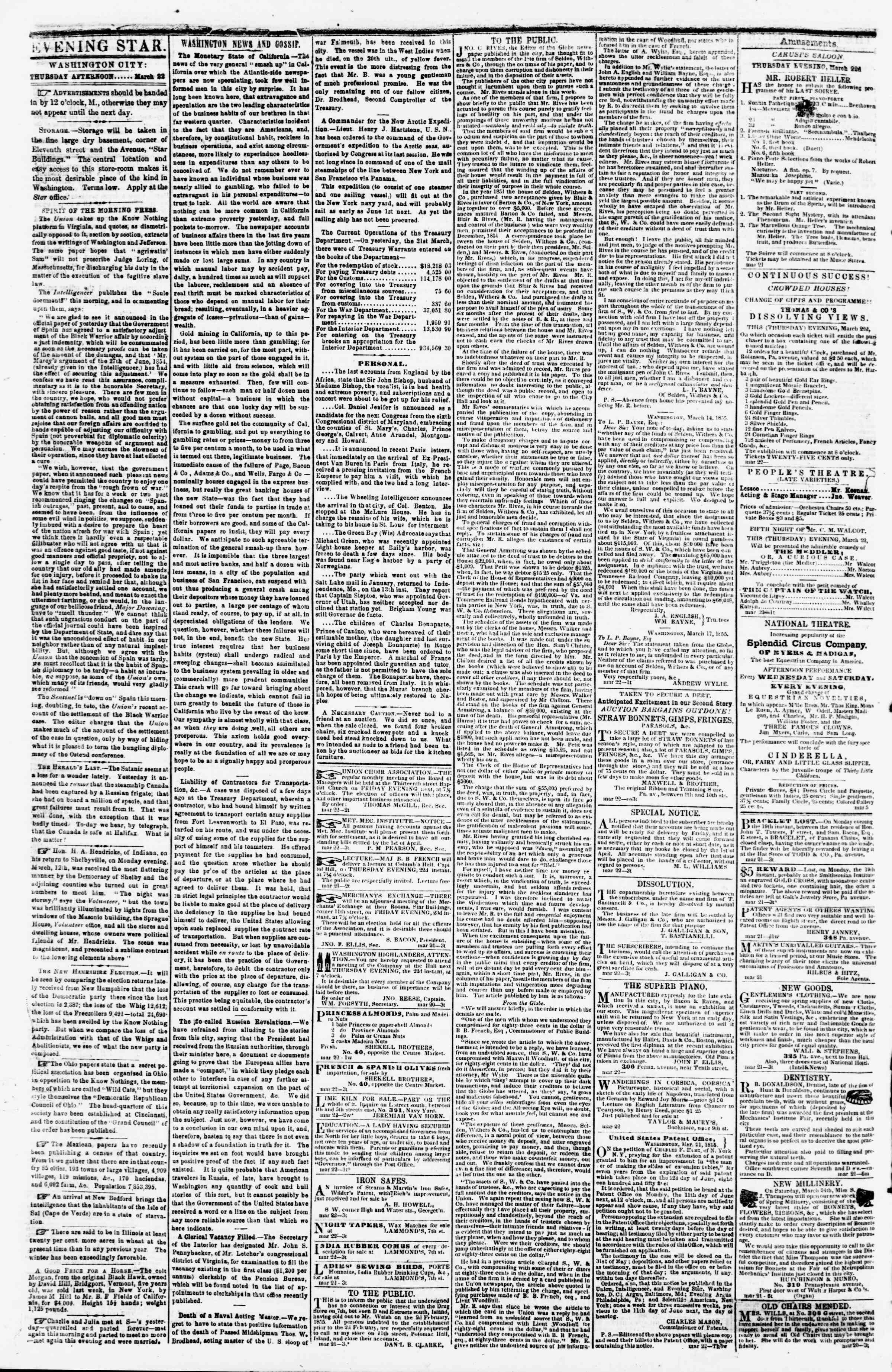 Newspaper of Evening Star dated March 22, 1855 Page 2