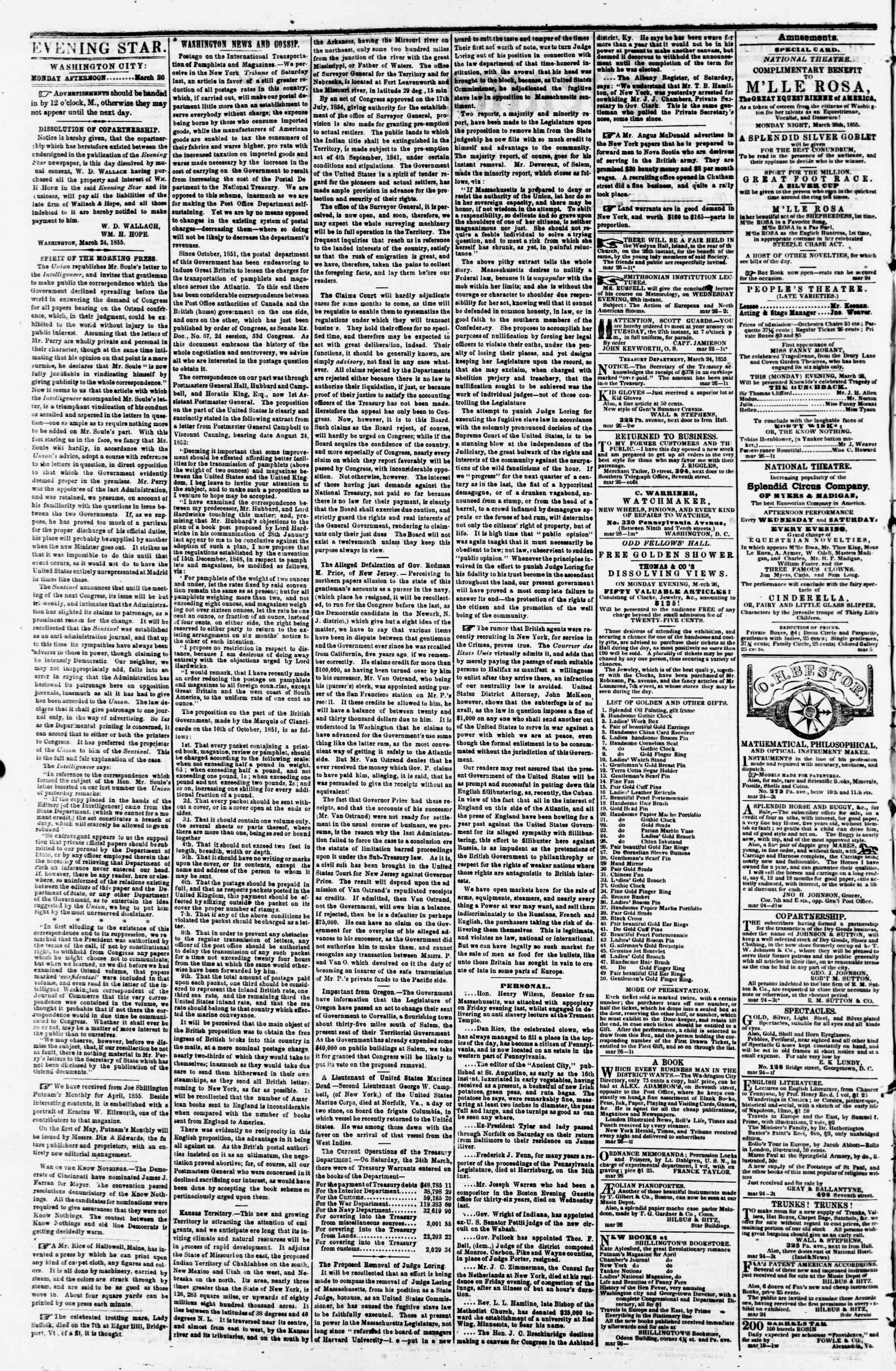 Newspaper of Evening Star dated March 26, 1855 Page 2