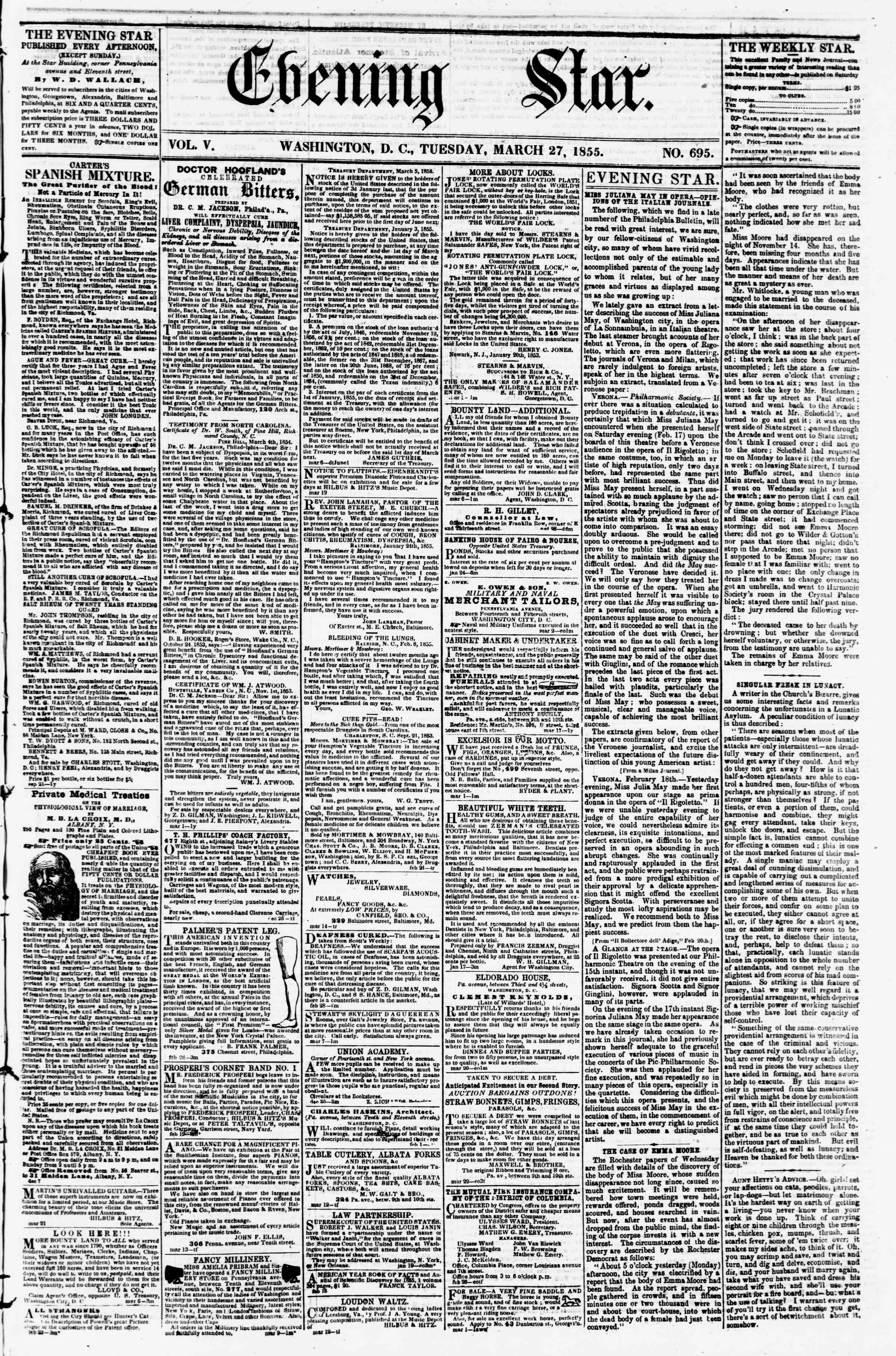 Newspaper of Evening Star dated March 27, 1855 Page 1