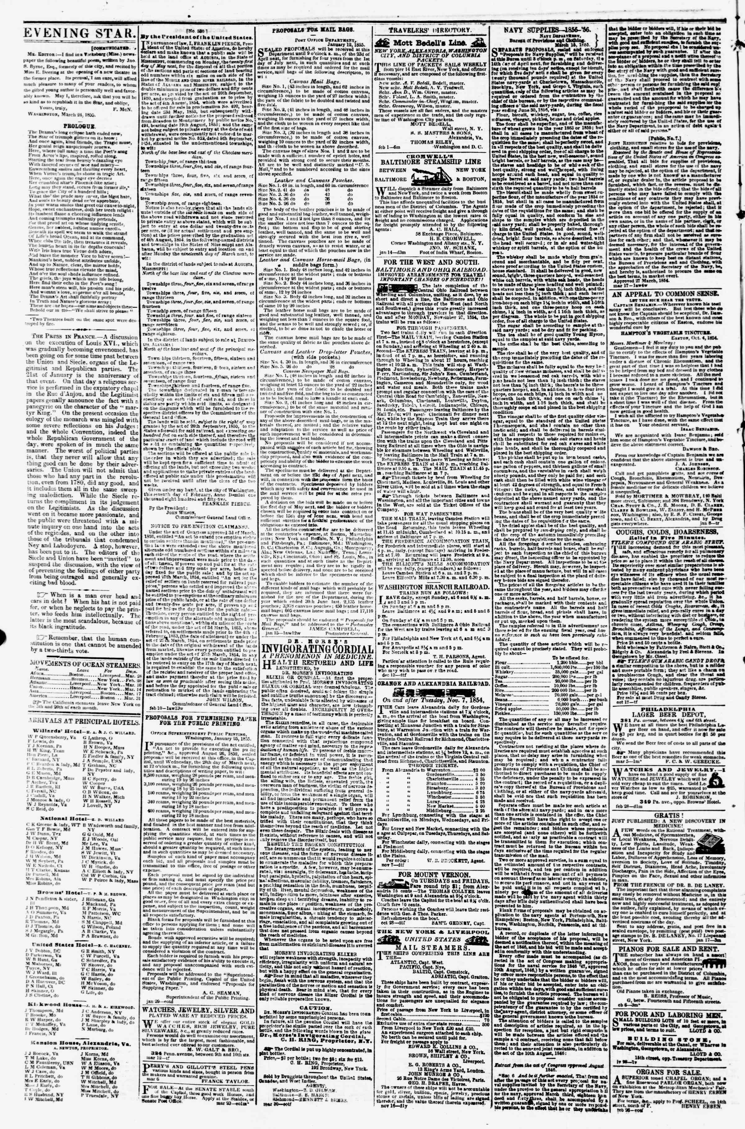 Newspaper of Evening Star dated March 27, 1855 Page 4
