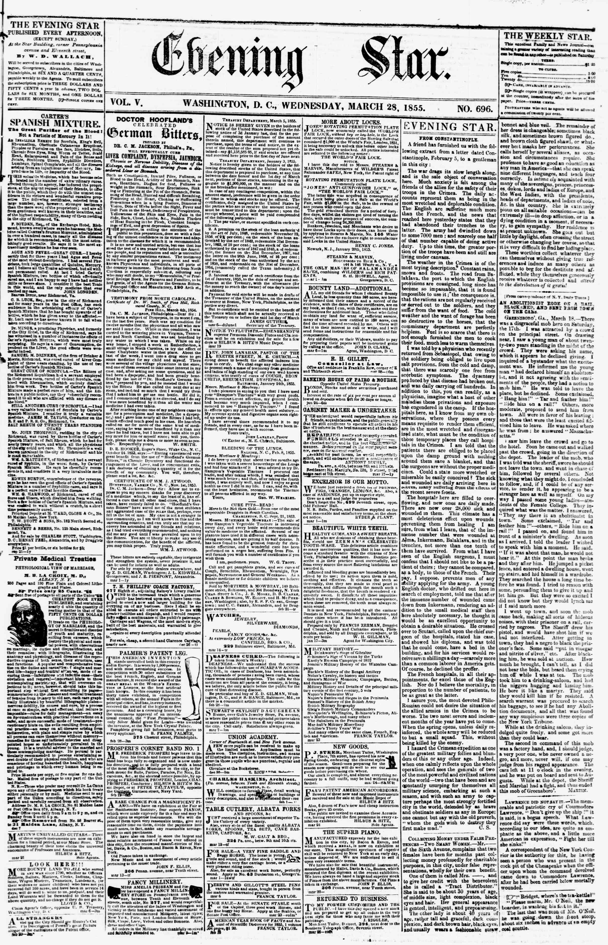 Newspaper of Evening Star dated March 28, 1855 Page 1