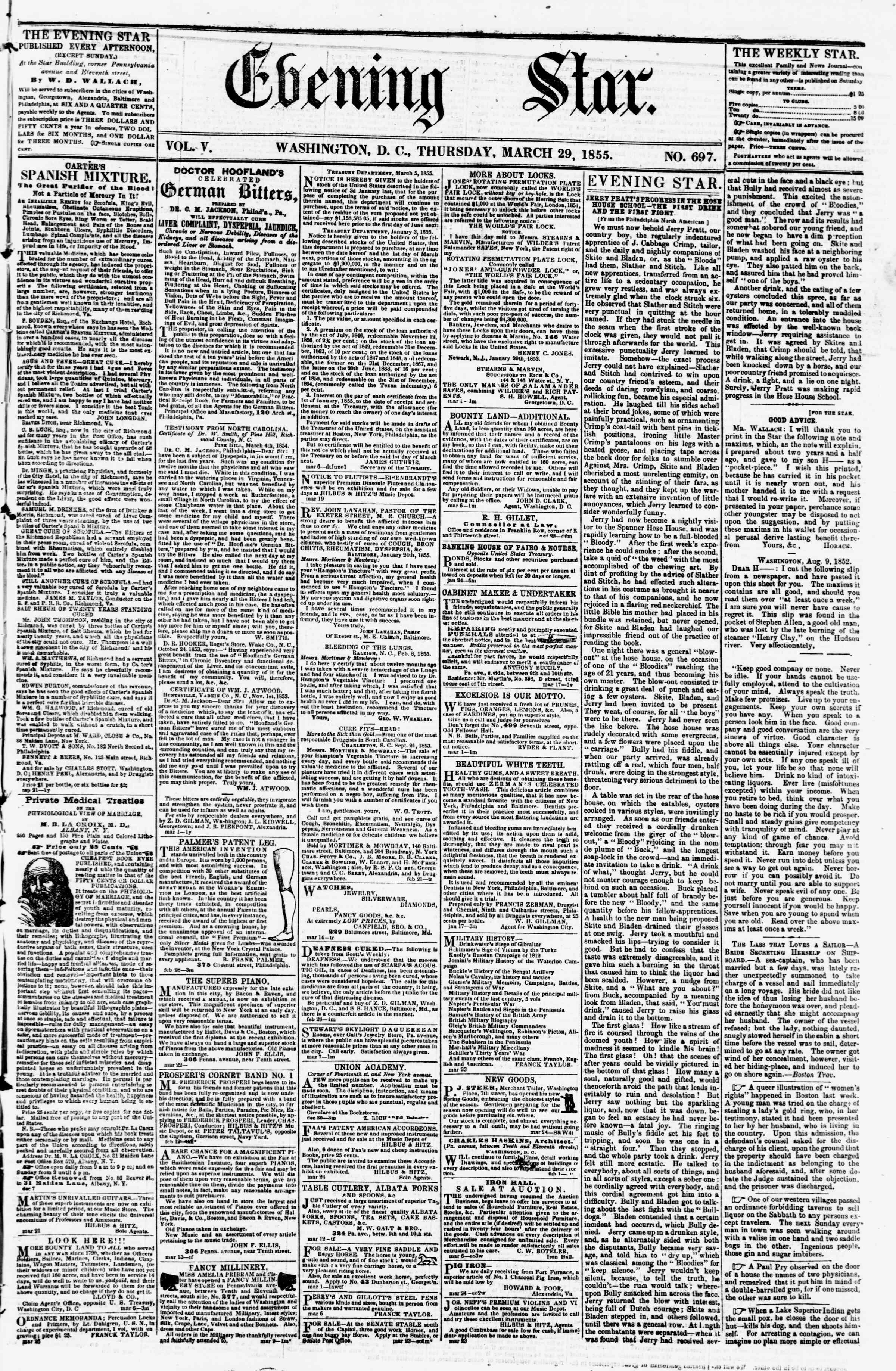 29 Mart 1855 tarihli Evening Star Gazetesi Sayfa 1