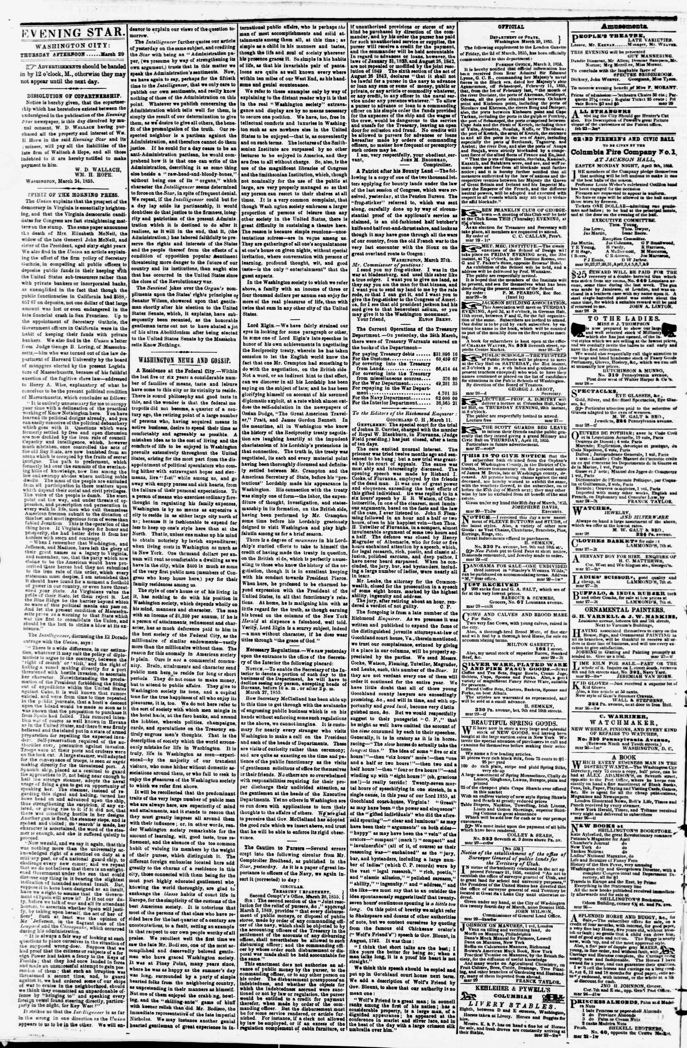 Newspaper of Evening Star dated March 29, 1855 Page 2