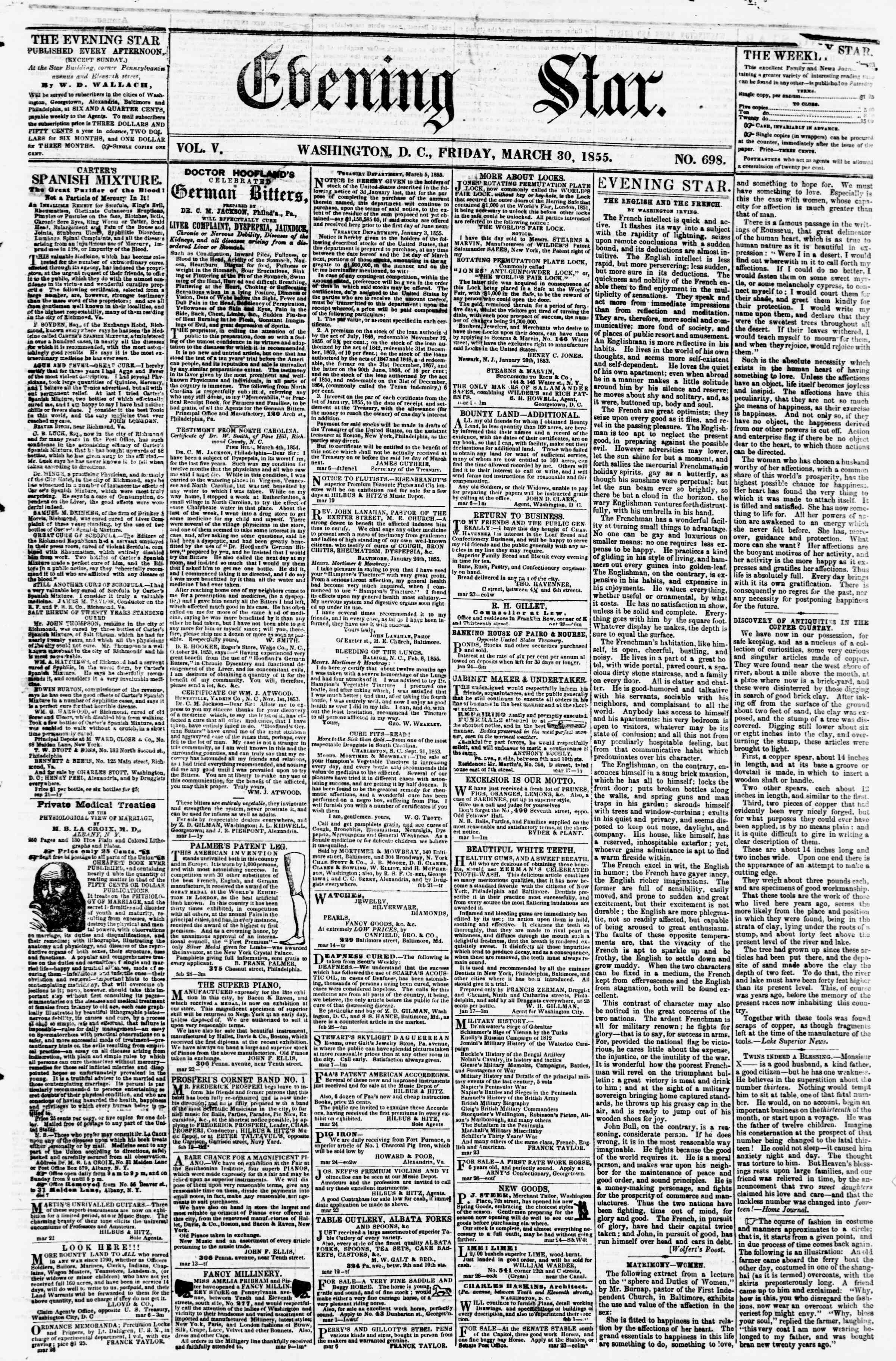 Newspaper of Evening Star dated March 30, 1855 Page 1