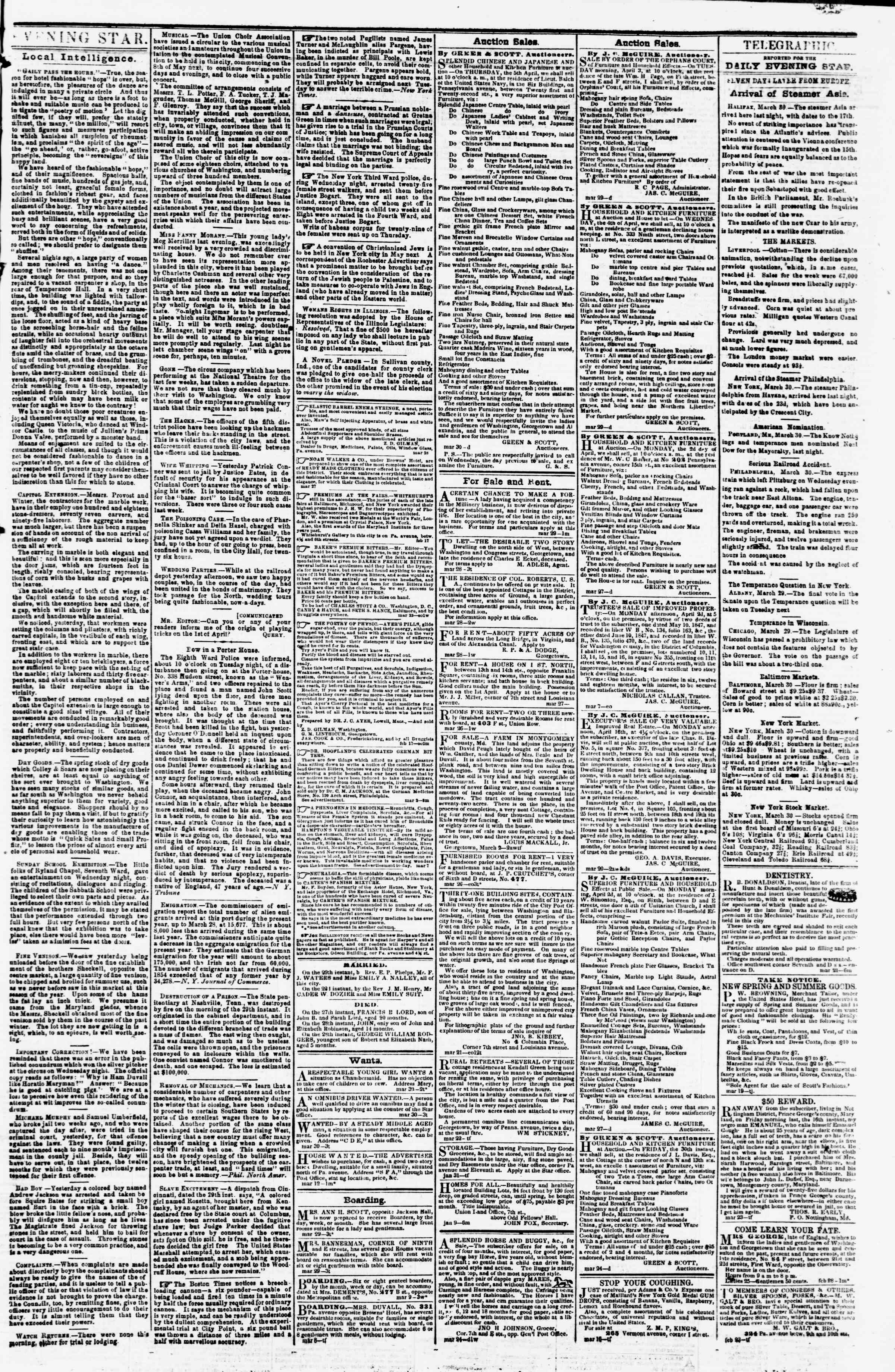 Newspaper of Evening Star dated March 30, 1855 Page 3