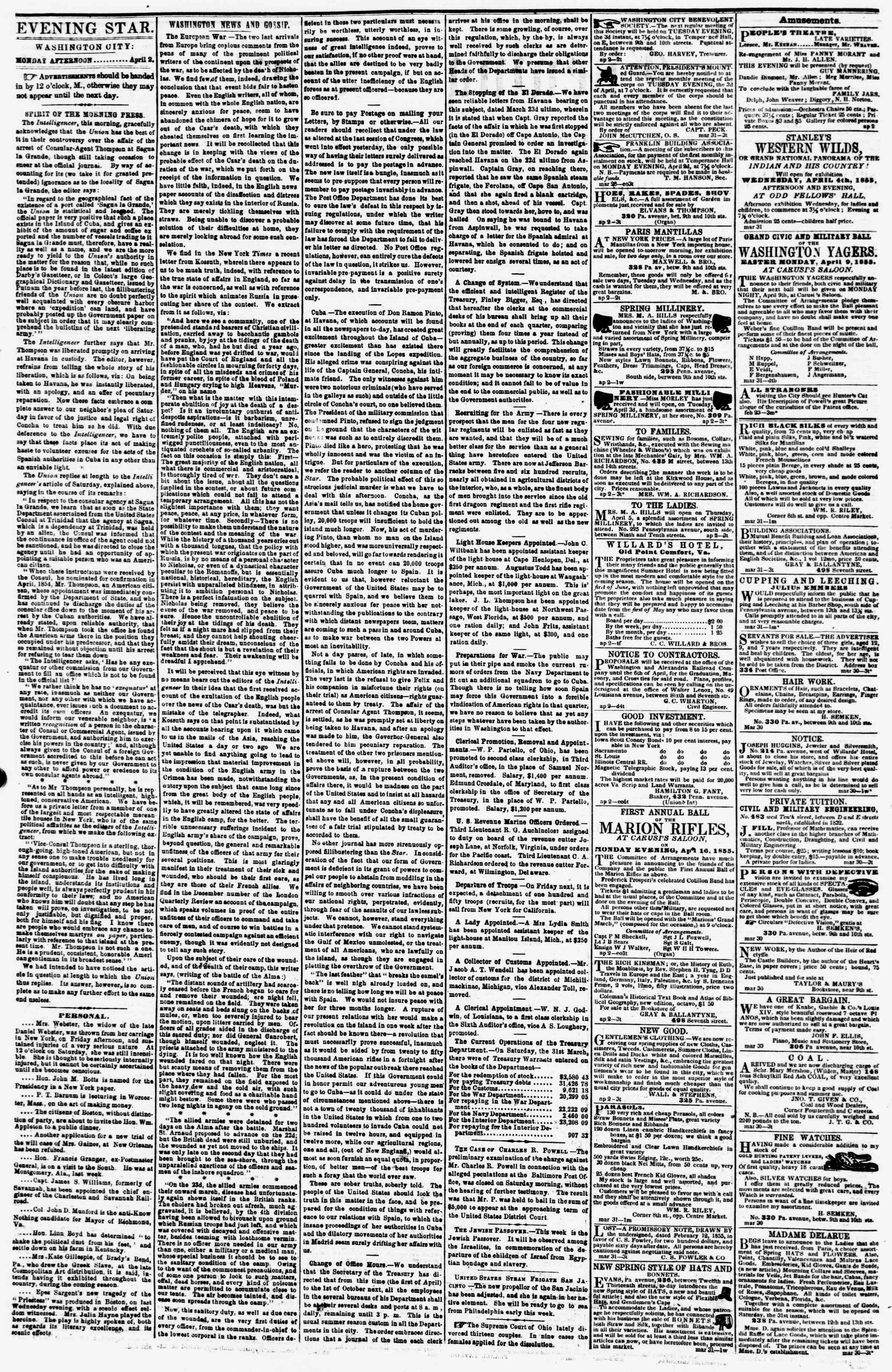 Newspaper of Evening Star dated April 2, 1855 Page 2