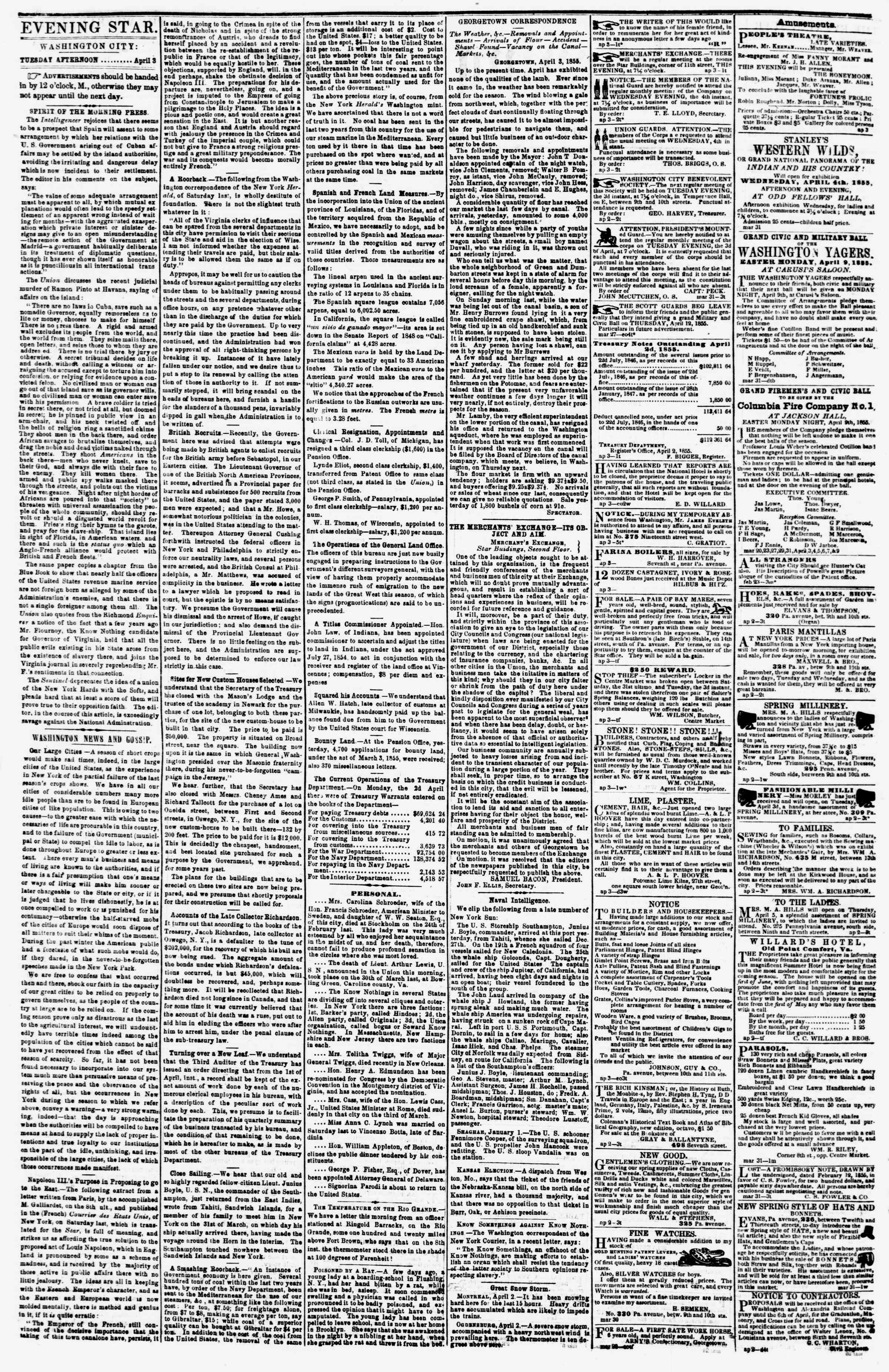 Newspaper of Evening Star dated April 3, 1855 Page 2