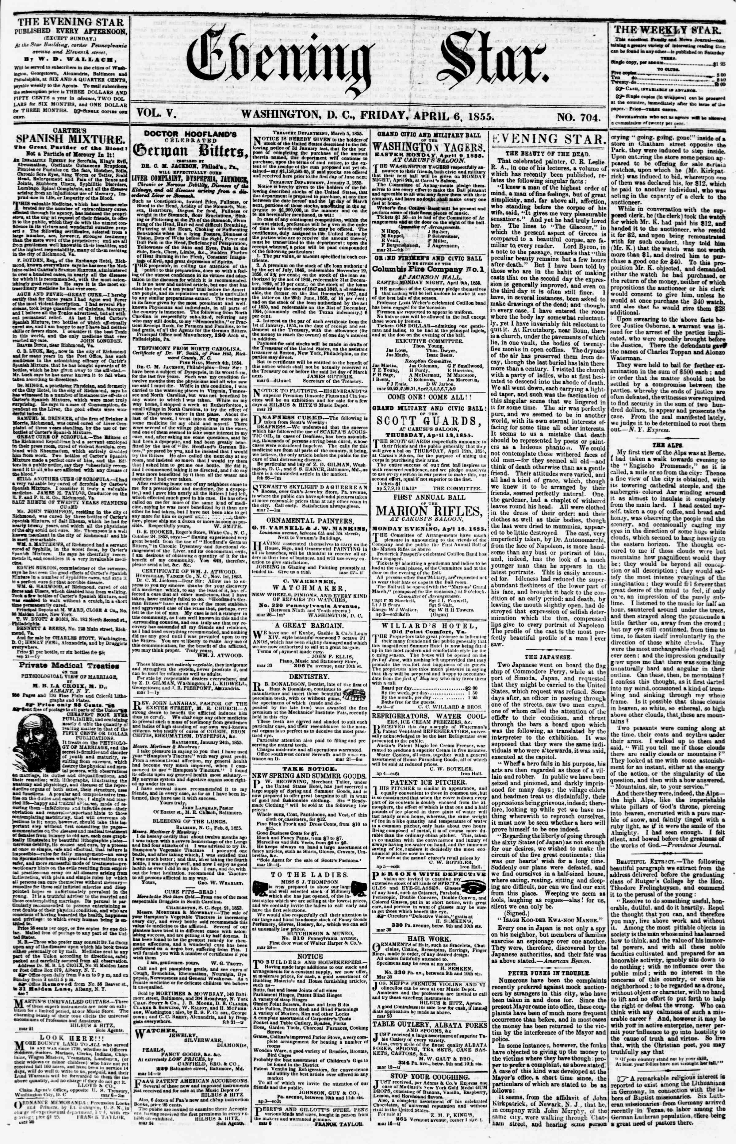 Newspaper of Evening Star dated April 6, 1855 Page 1