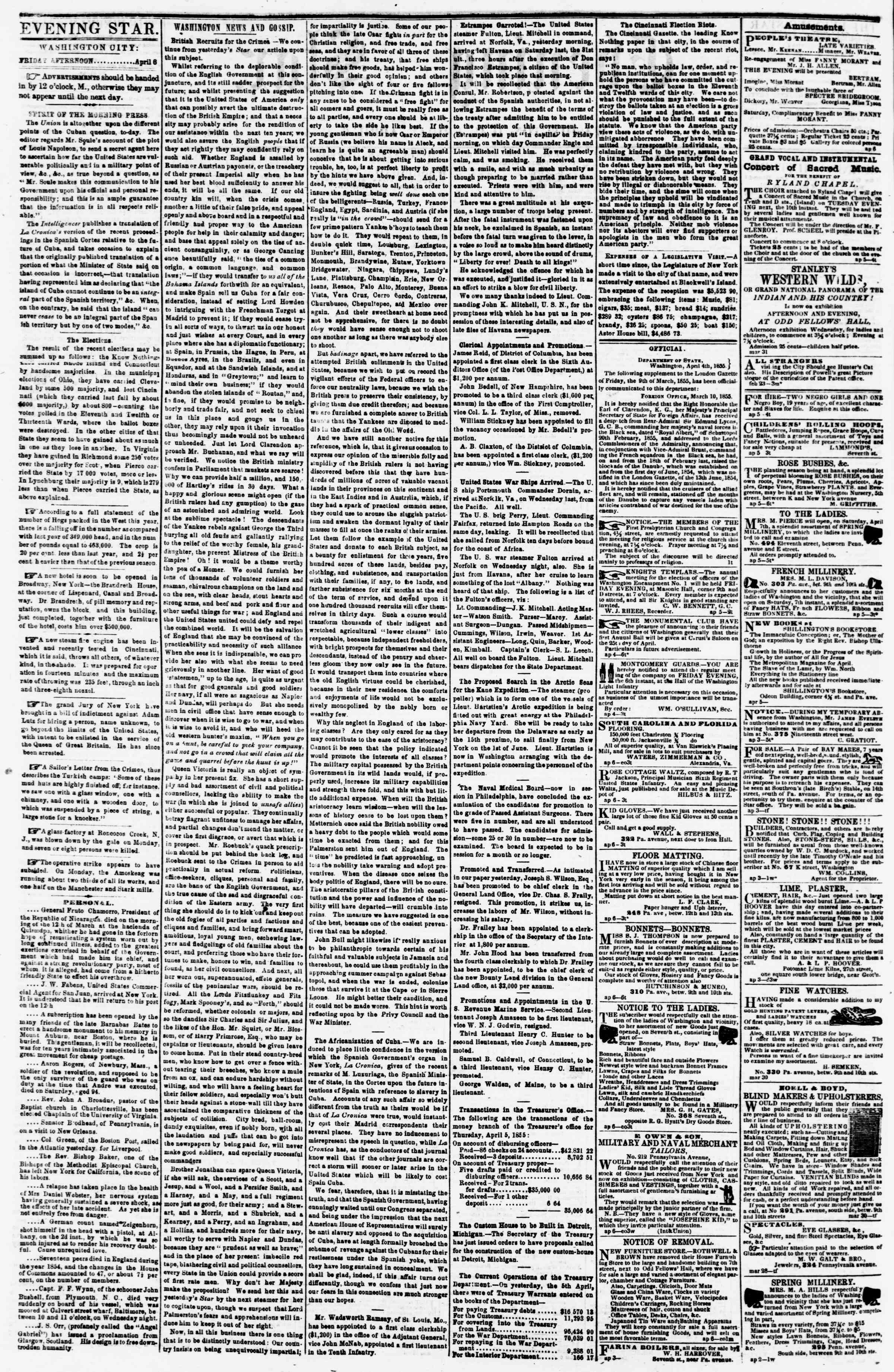 Newspaper of Evening Star dated April 6, 1855 Page 2
