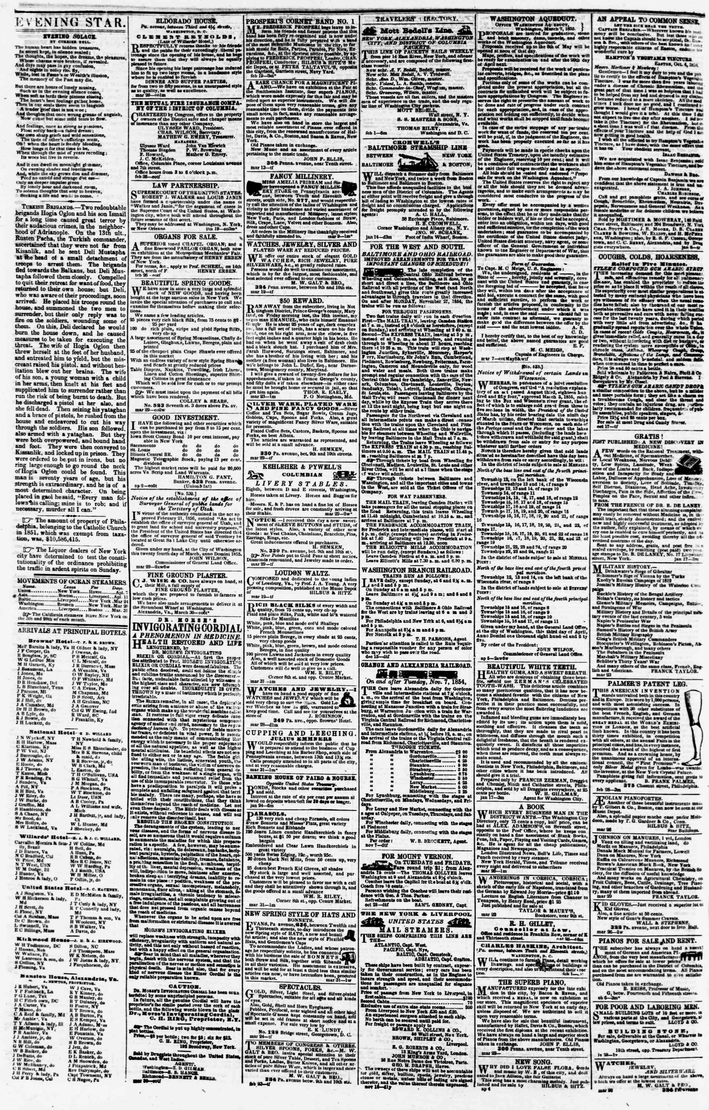 Newspaper of Evening Star dated April 6, 1855 Page 4