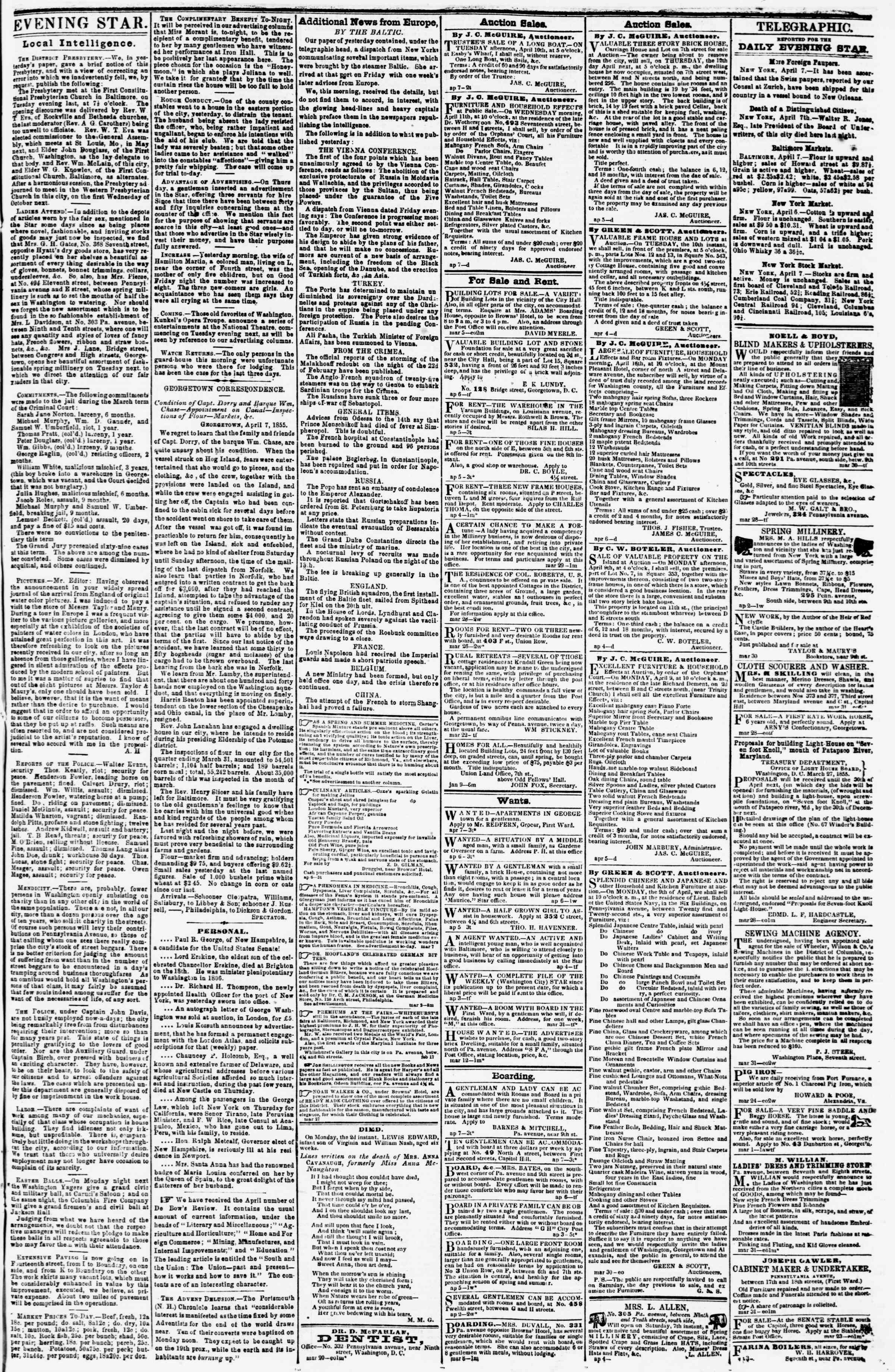 Newspaper of Evening Star dated April 7, 1855 Page 3