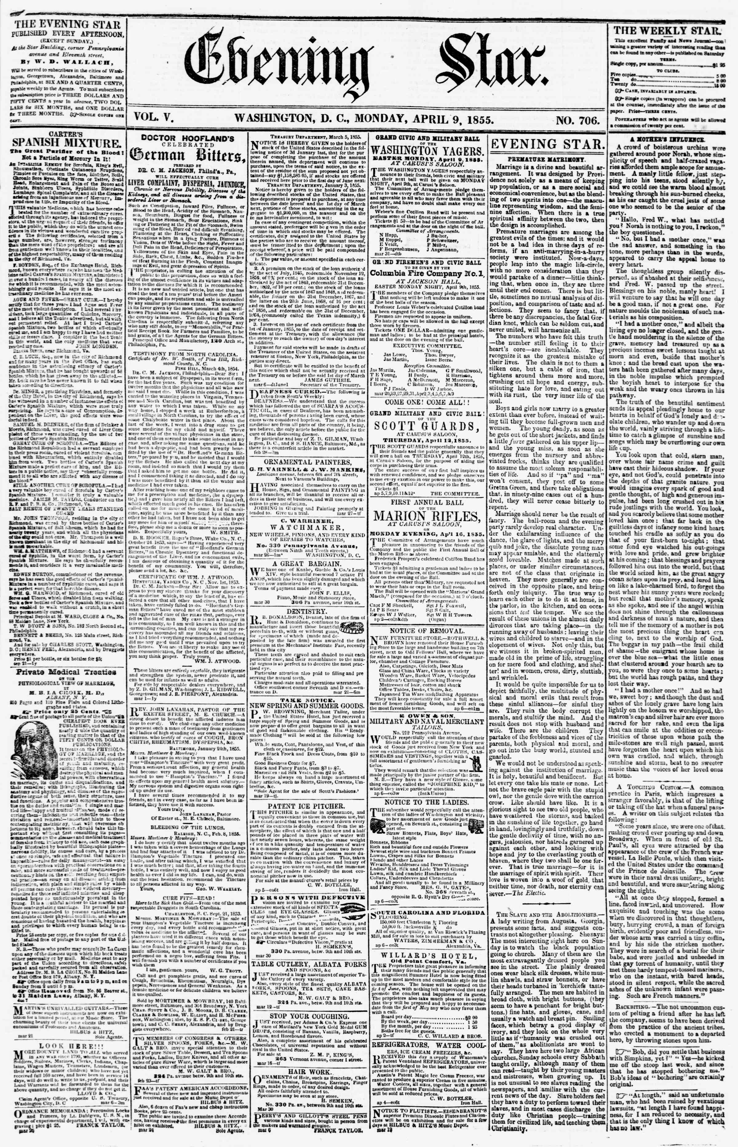 Newspaper of Evening Star dated April 9, 1855 Page 1