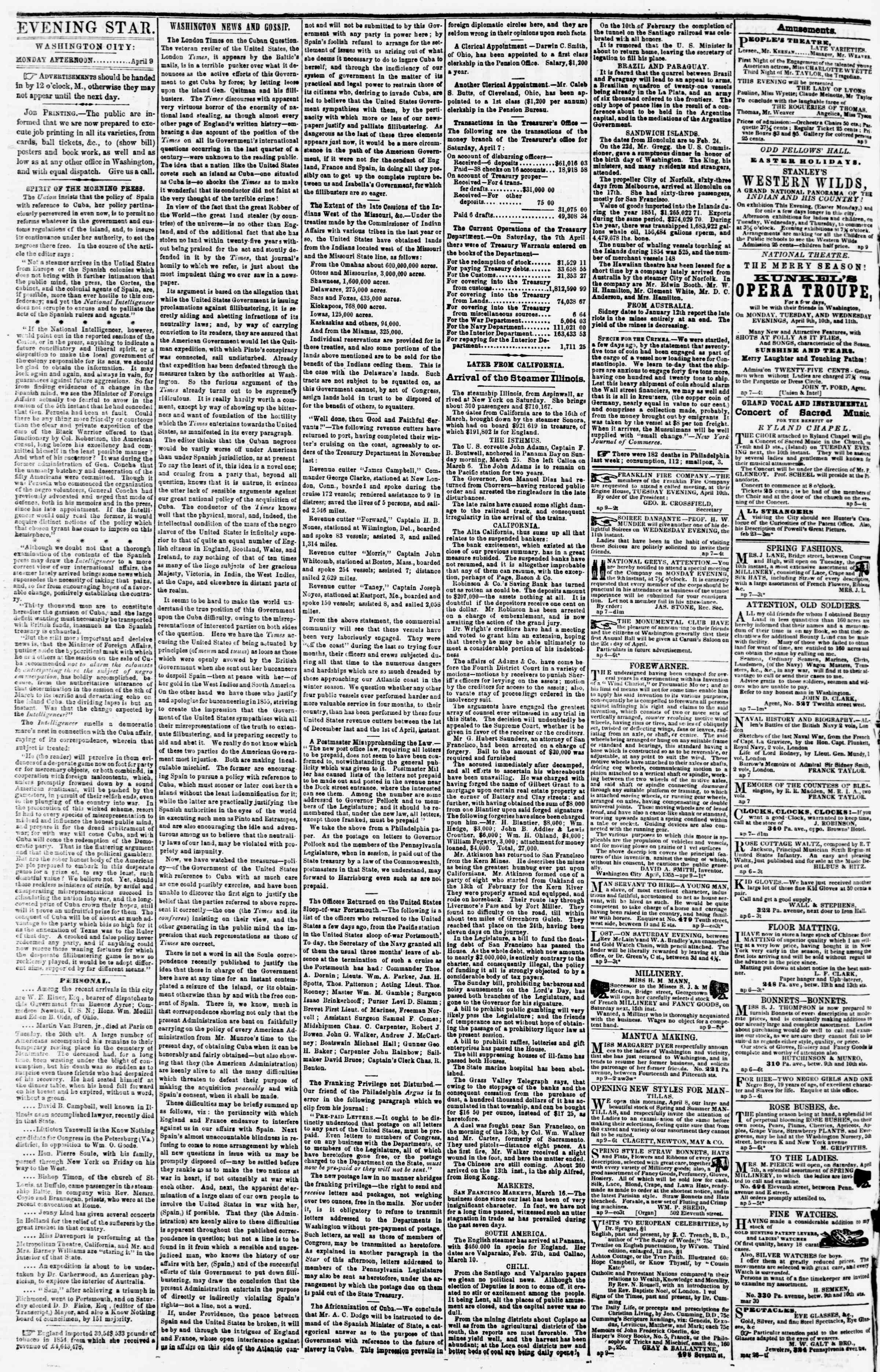 Newspaper of Evening Star dated April 9, 1855 Page 2