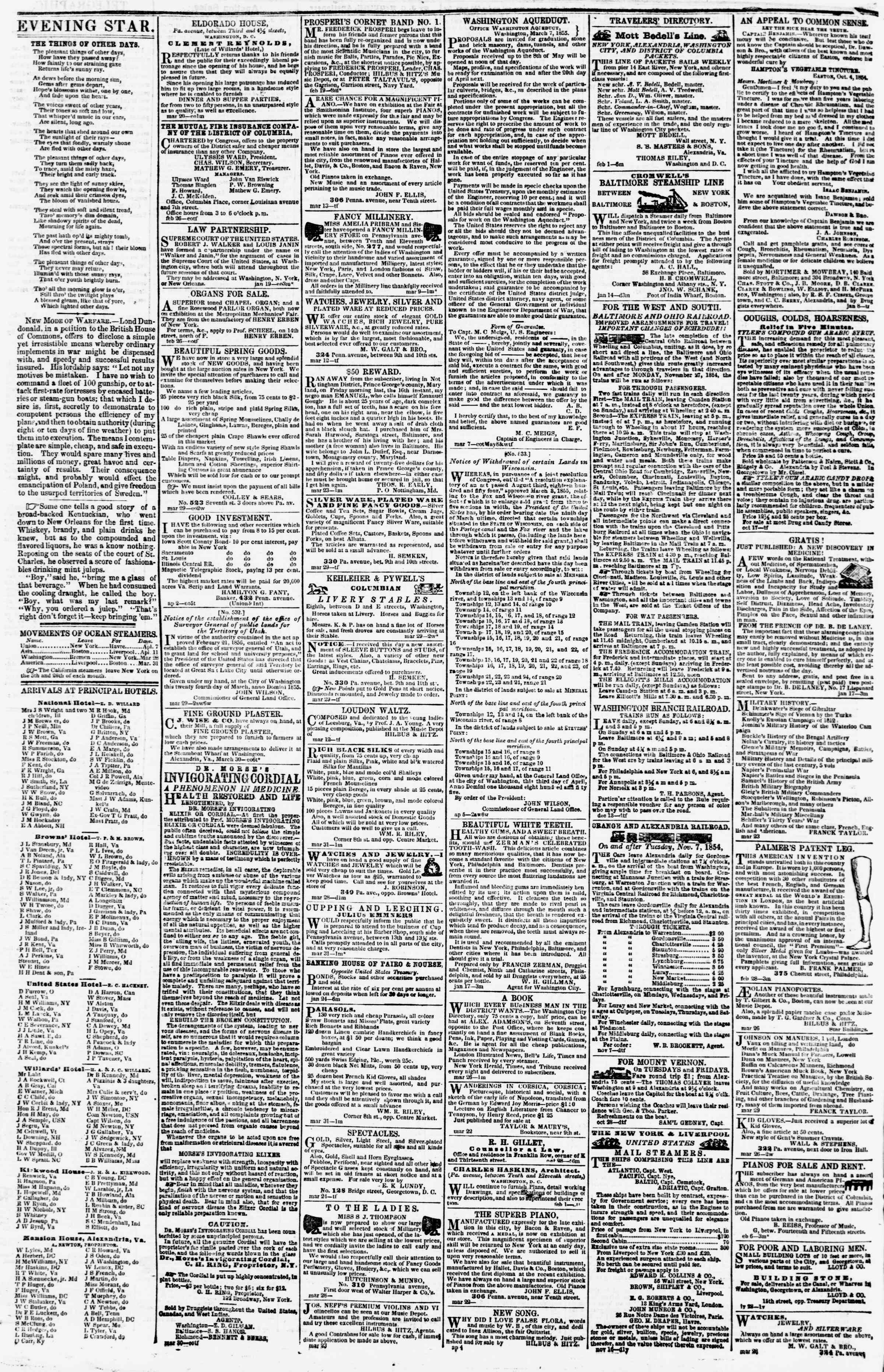 Newspaper of Evening Star dated April 9, 1855 Page 4