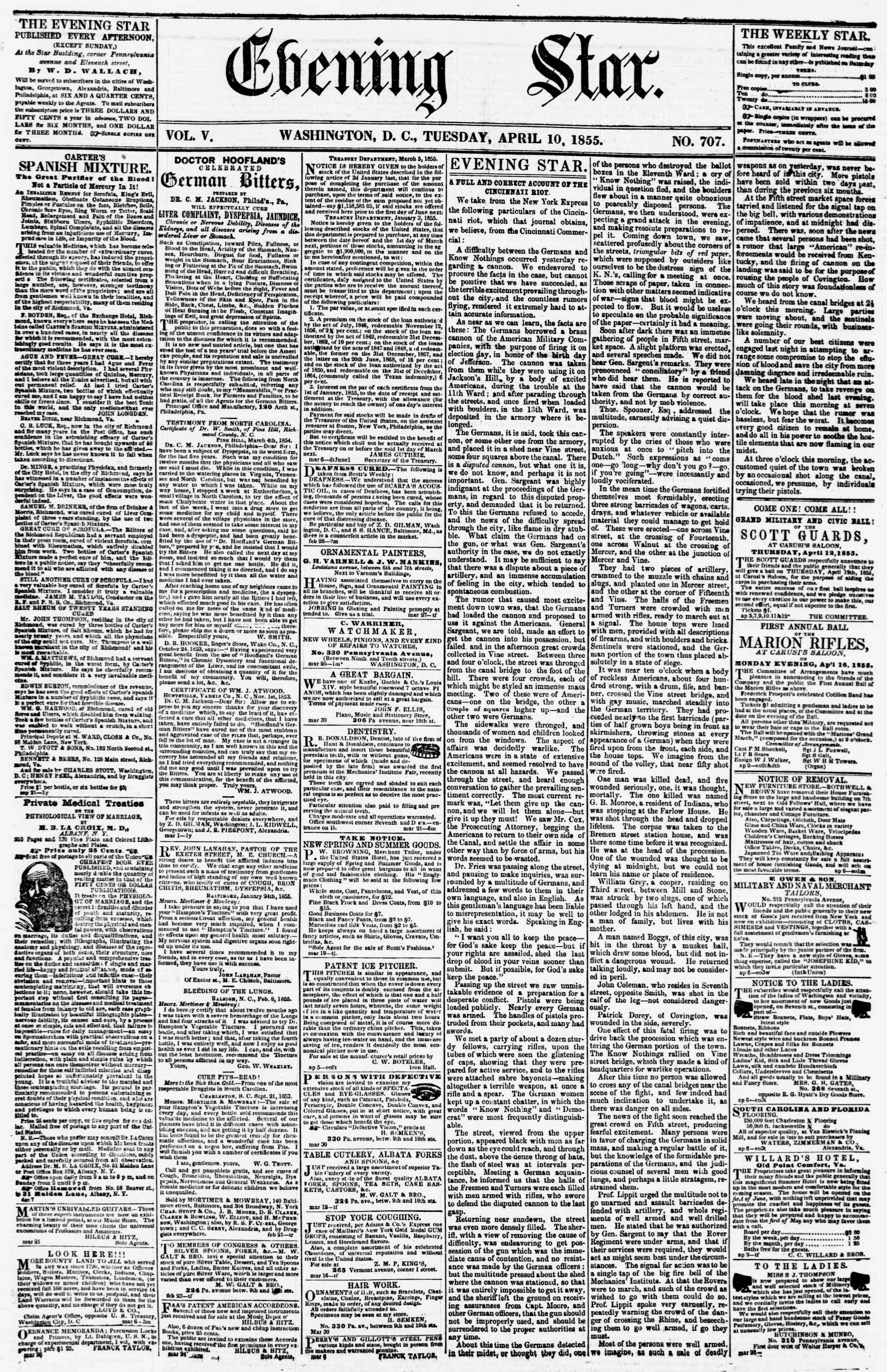 Newspaper of Evening Star dated April 10, 1855 Page 1