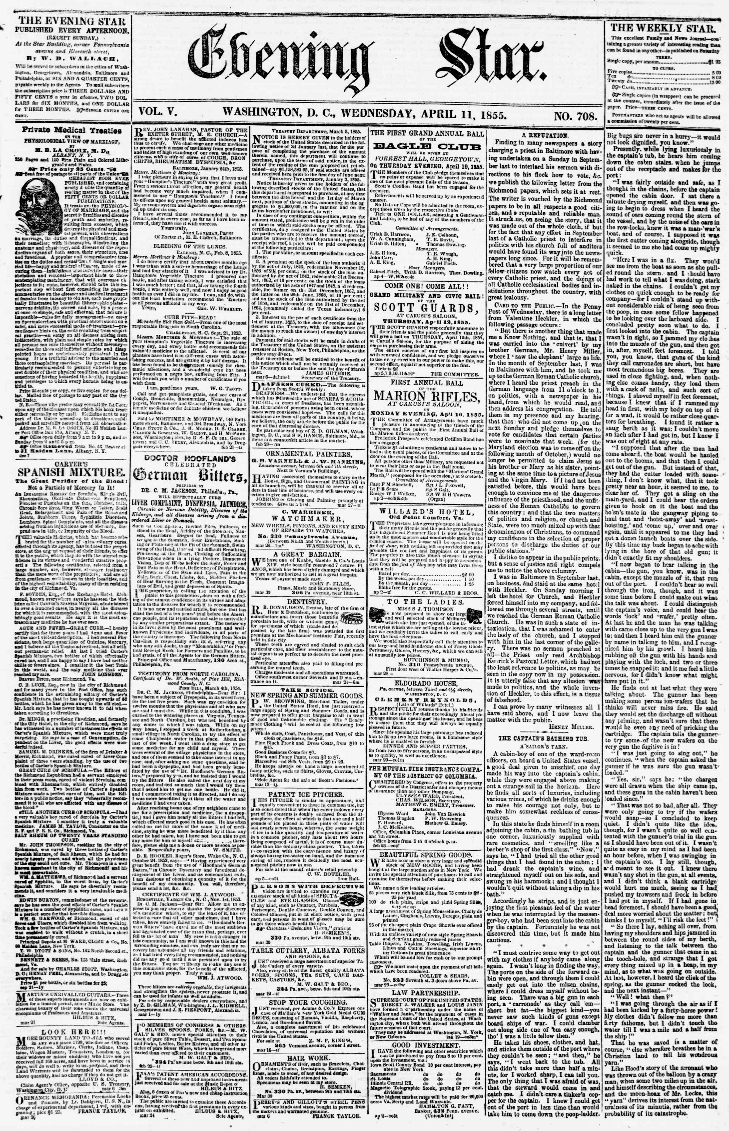 Newspaper of Evening Star dated April 11, 1855 Page 1