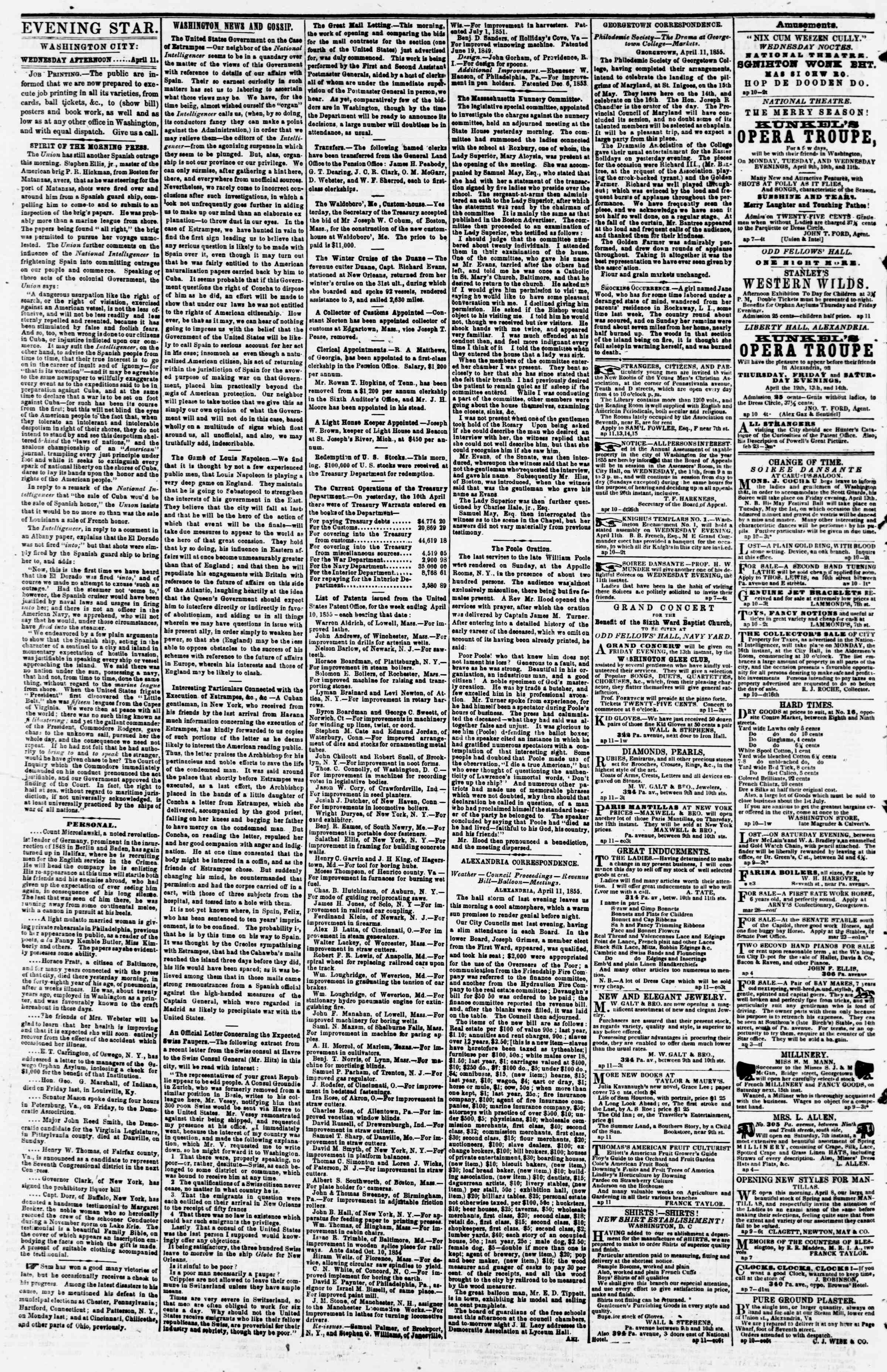 Newspaper of Evening Star dated April 11, 1855 Page 2