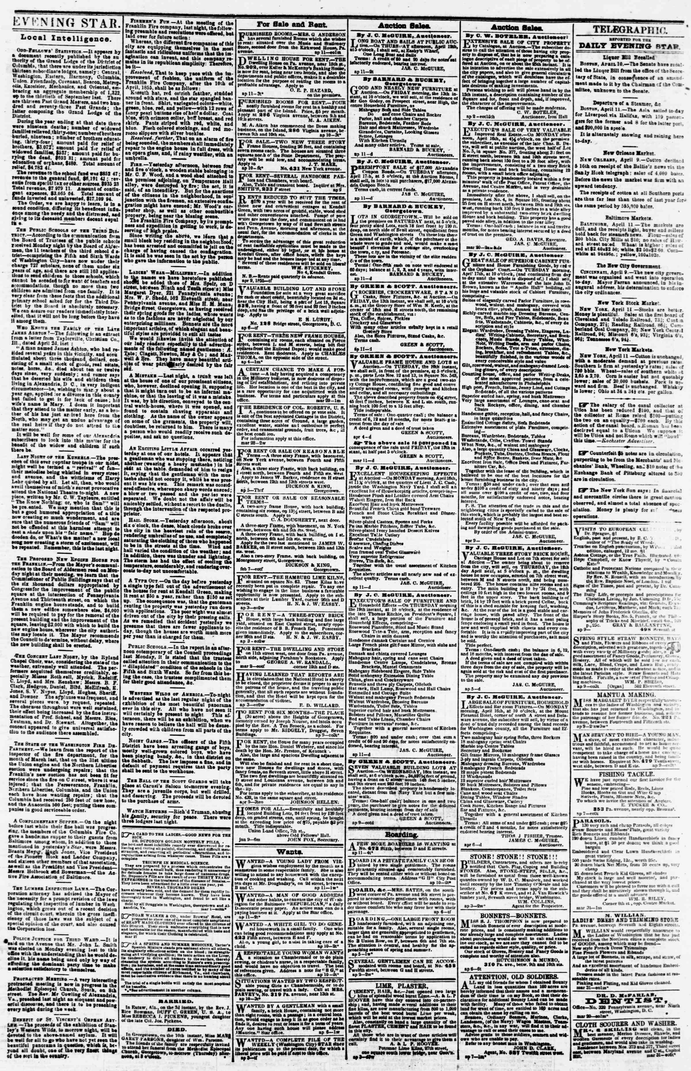 Newspaper of Evening Star dated April 11, 1855 Page 3