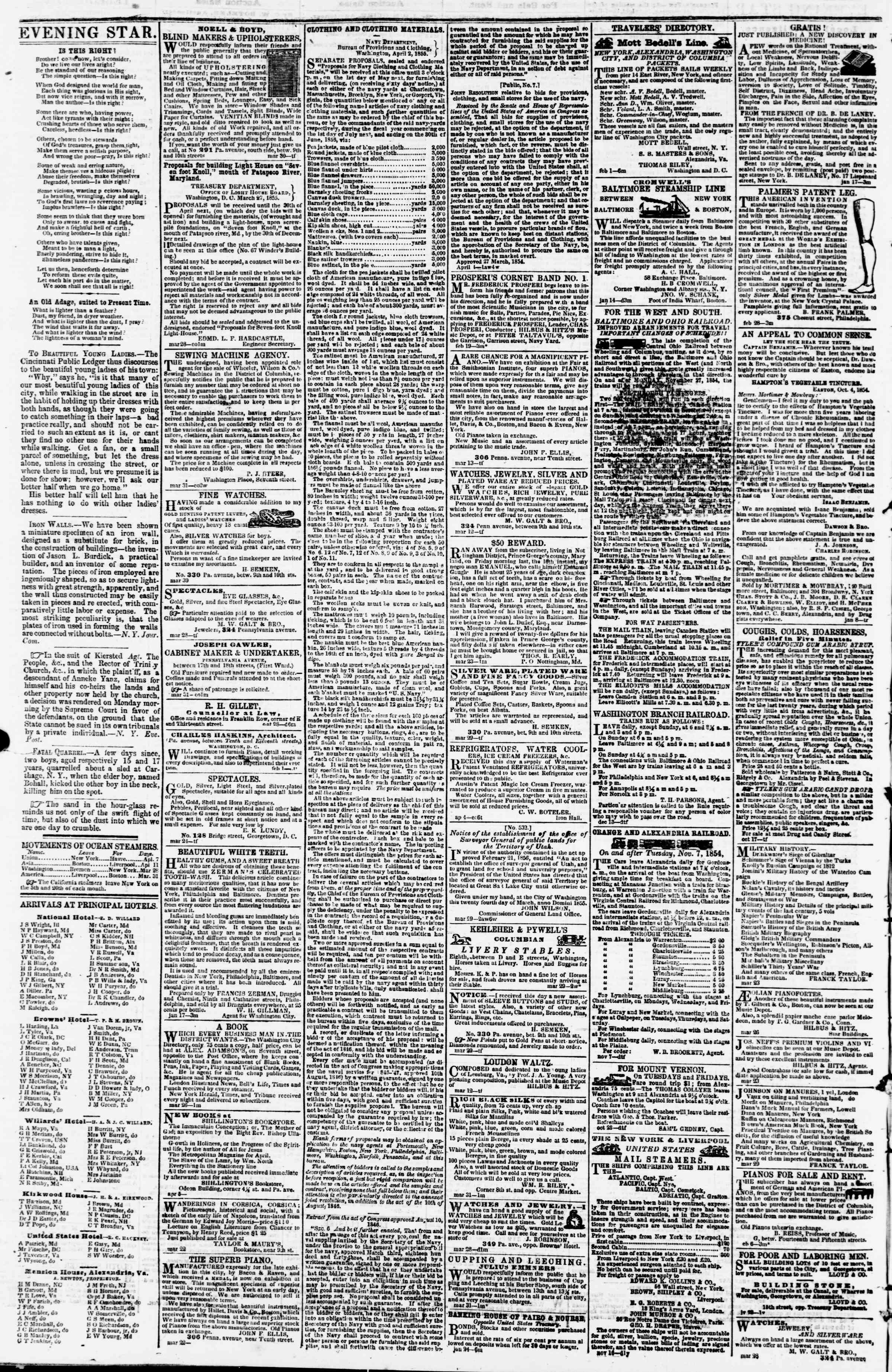 Newspaper of Evening Star dated April 11, 1855 Page 4