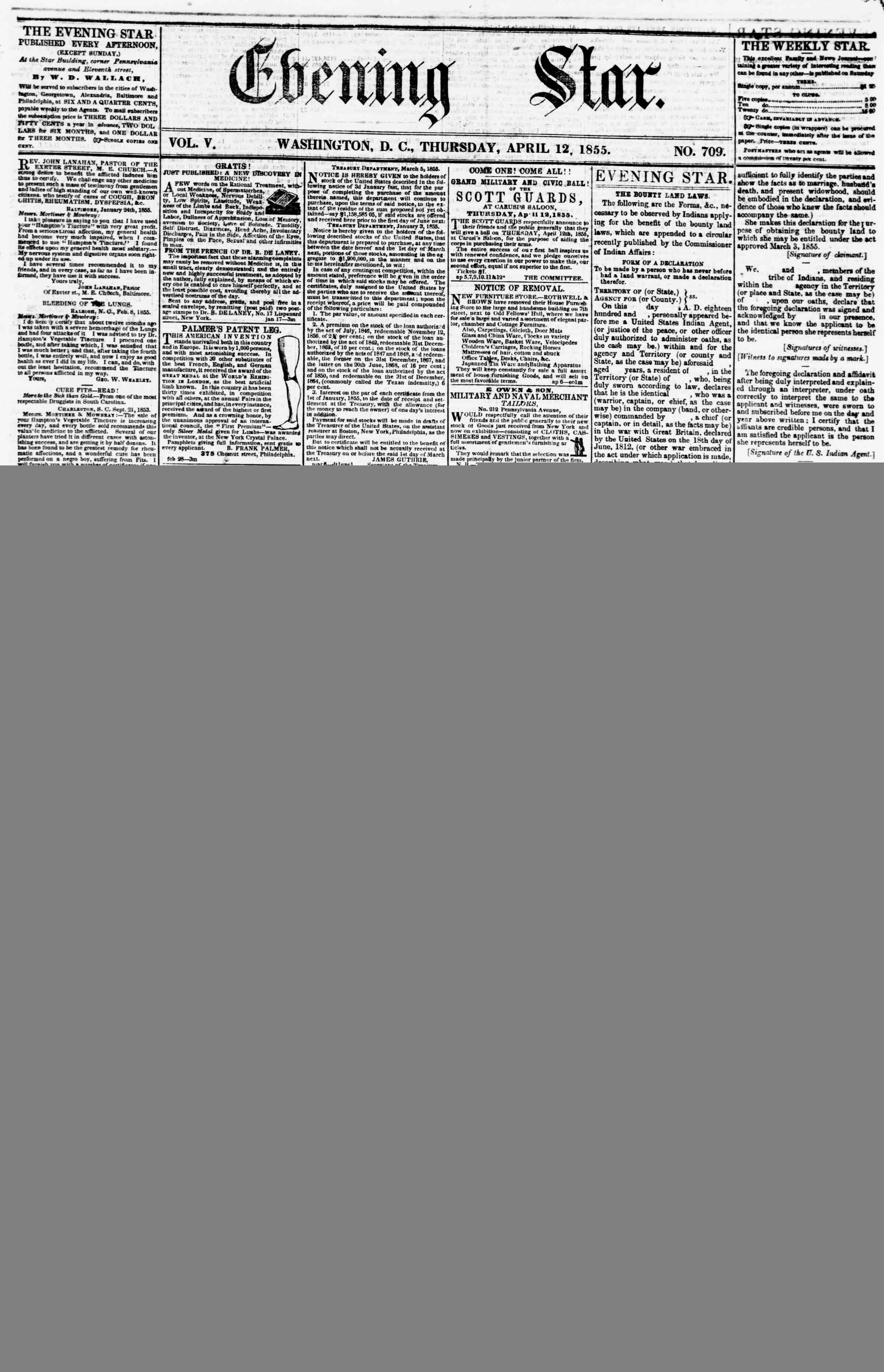 Newspaper of Evening Star dated April 12, 1855 Page 1