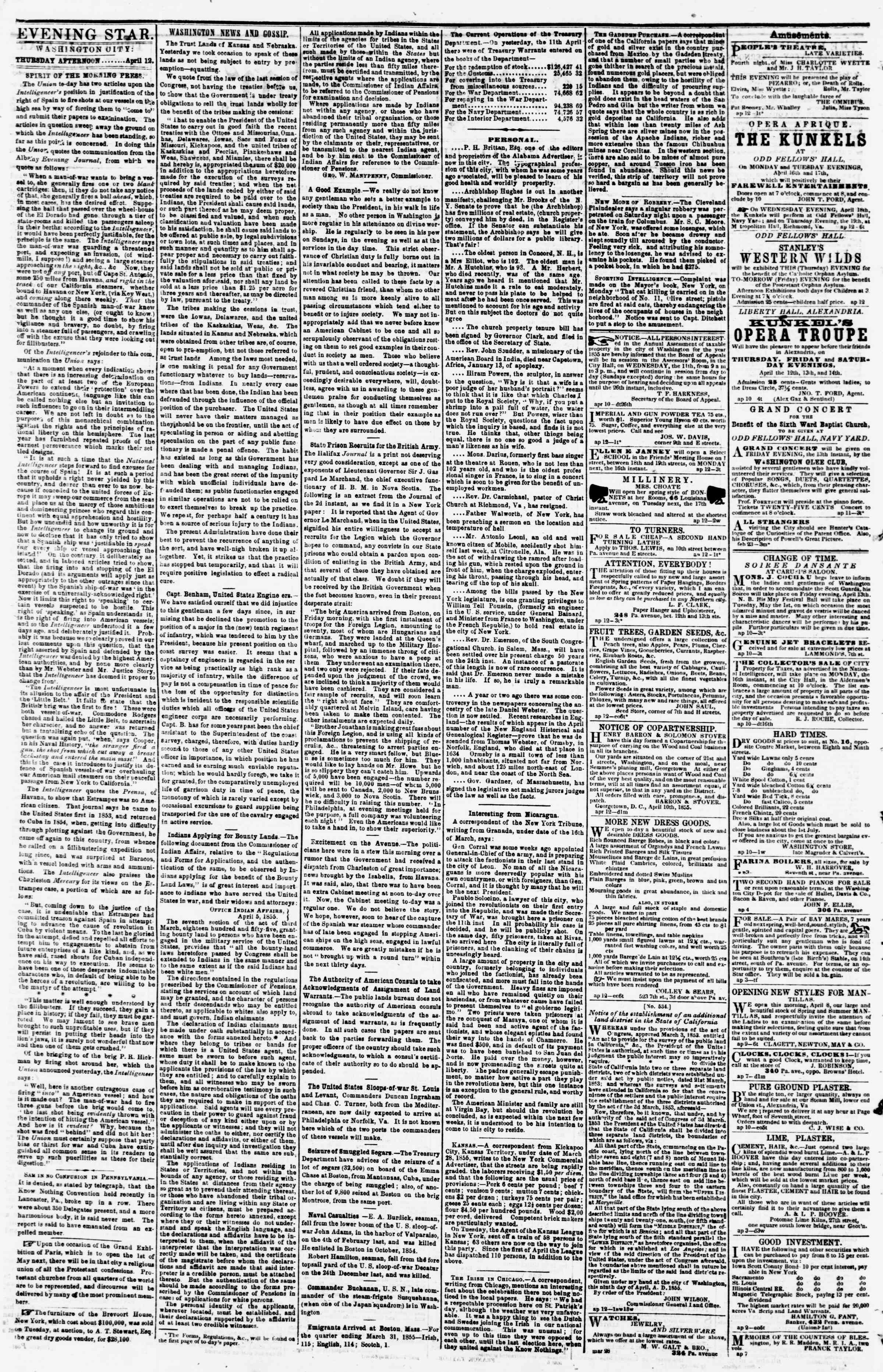 Newspaper of Evening Star dated April 12, 1855 Page 2