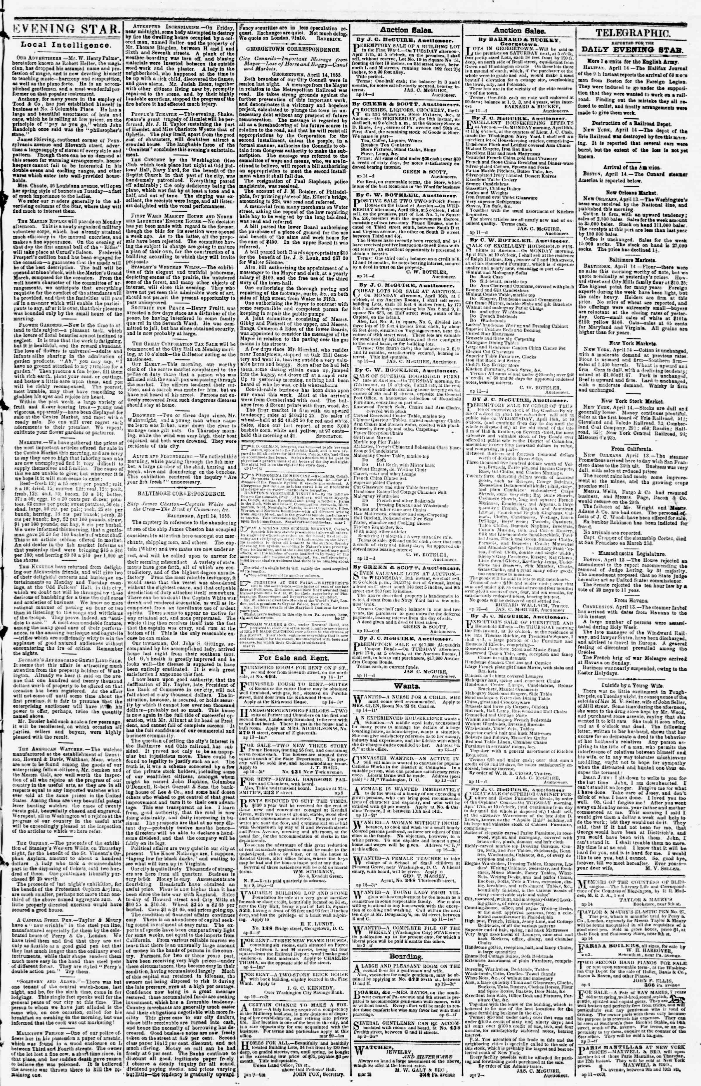 Newspaper of Evening Star dated April 14, 1855 Page 3
