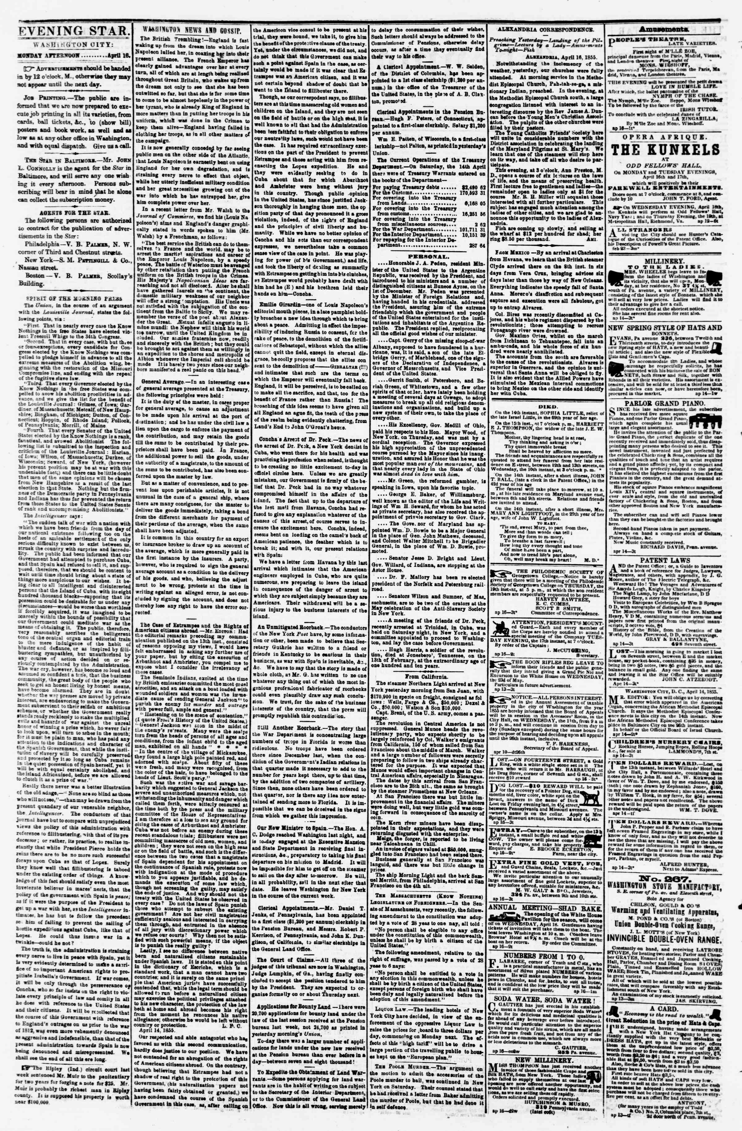Newspaper of Evening Star dated 16 Nisan 1855 Page 2