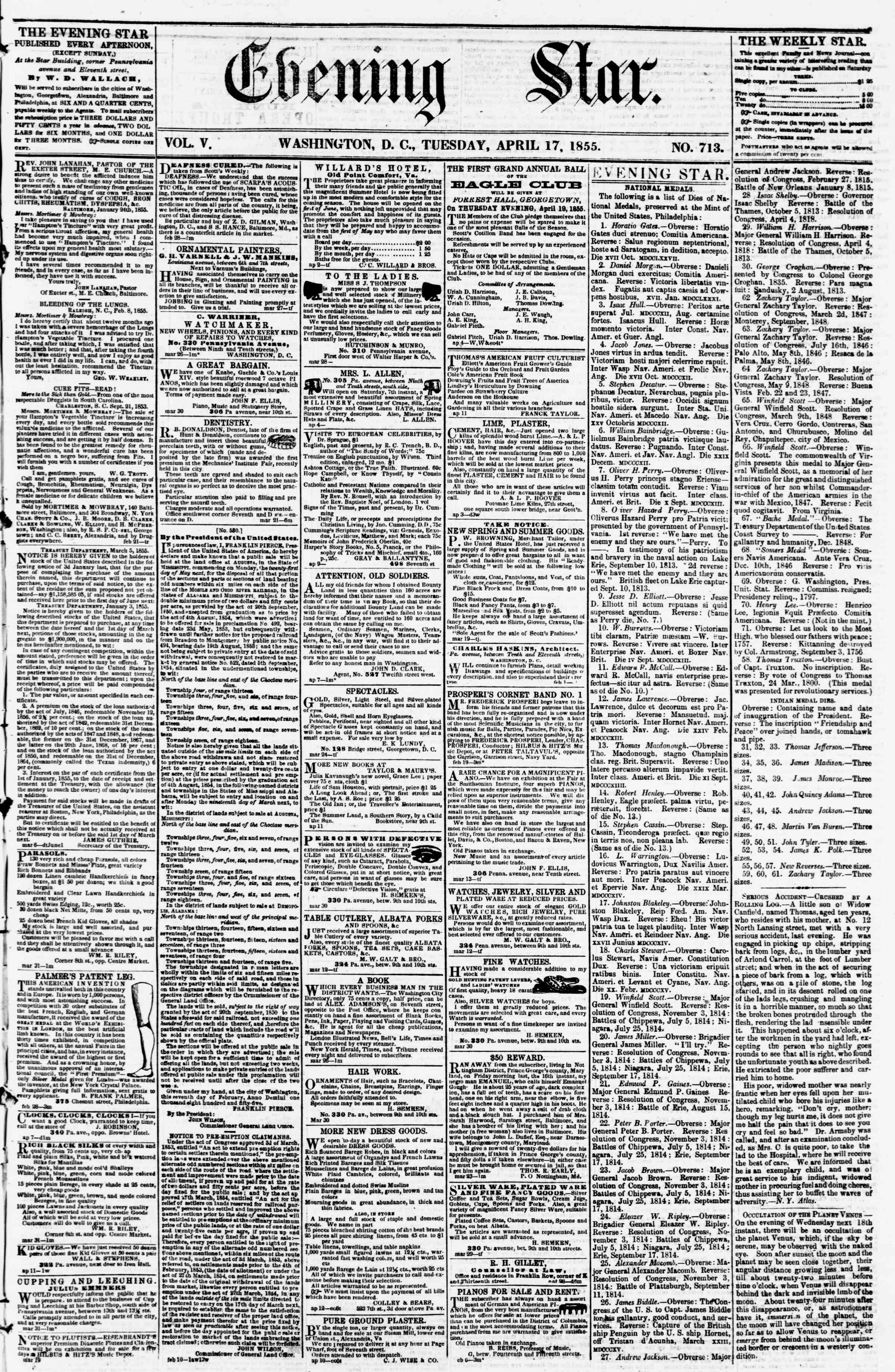 Newspaper of Evening Star dated April 17, 1855 Page 1