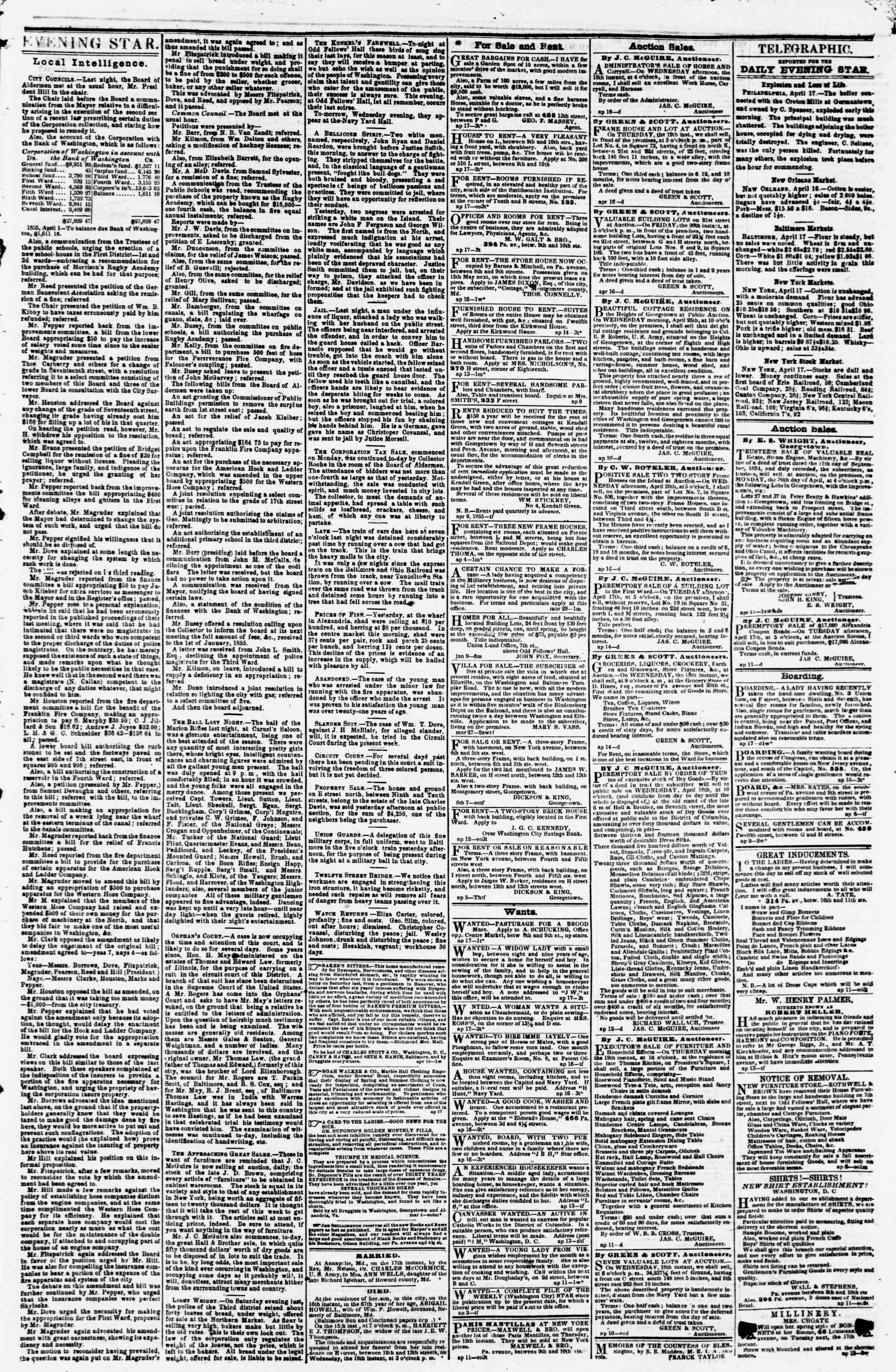 Newspaper of Evening Star dated April 17, 1855 Page 3