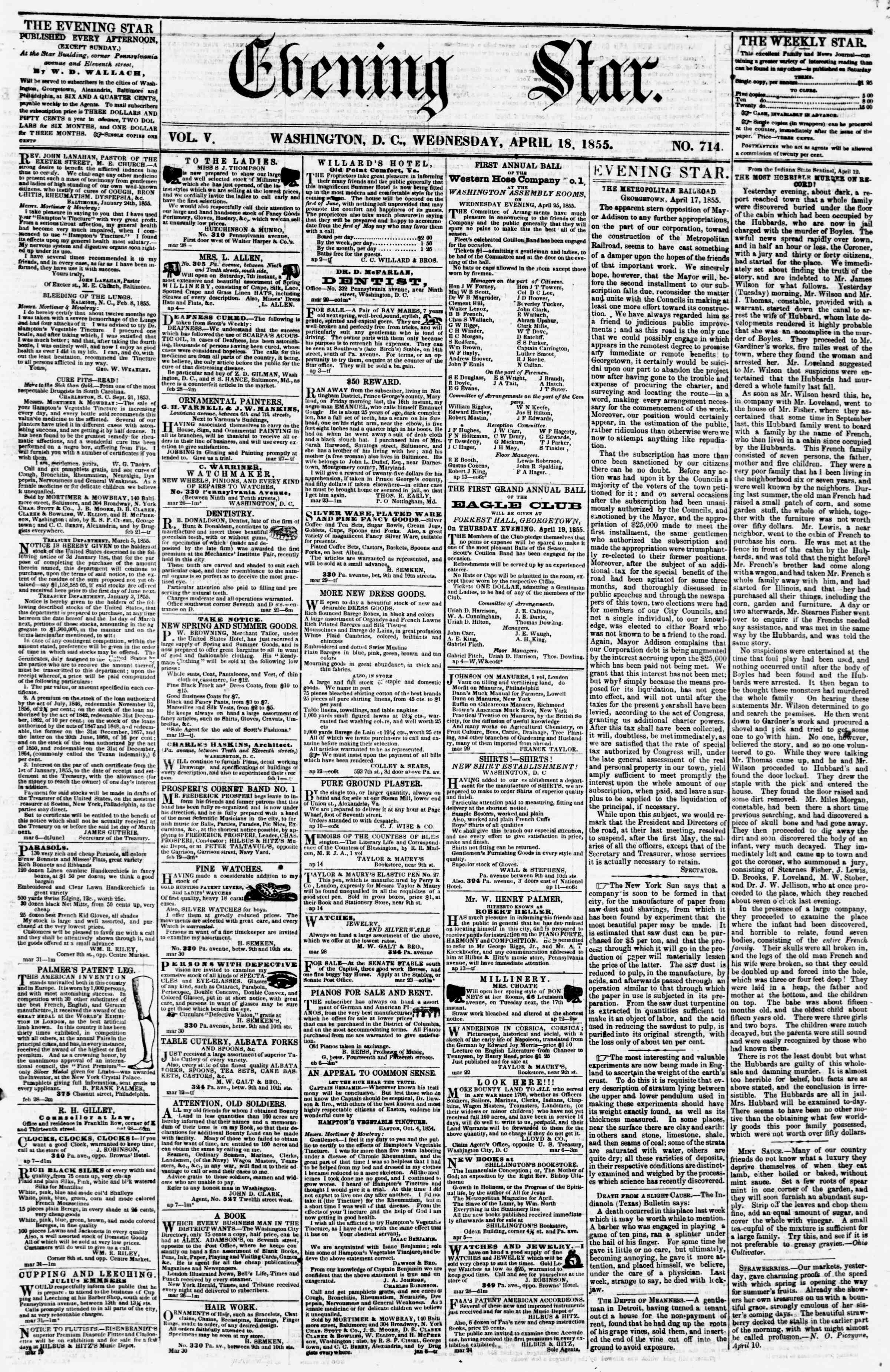 Newspaper of Evening Star dated April 18, 1855 Page 1