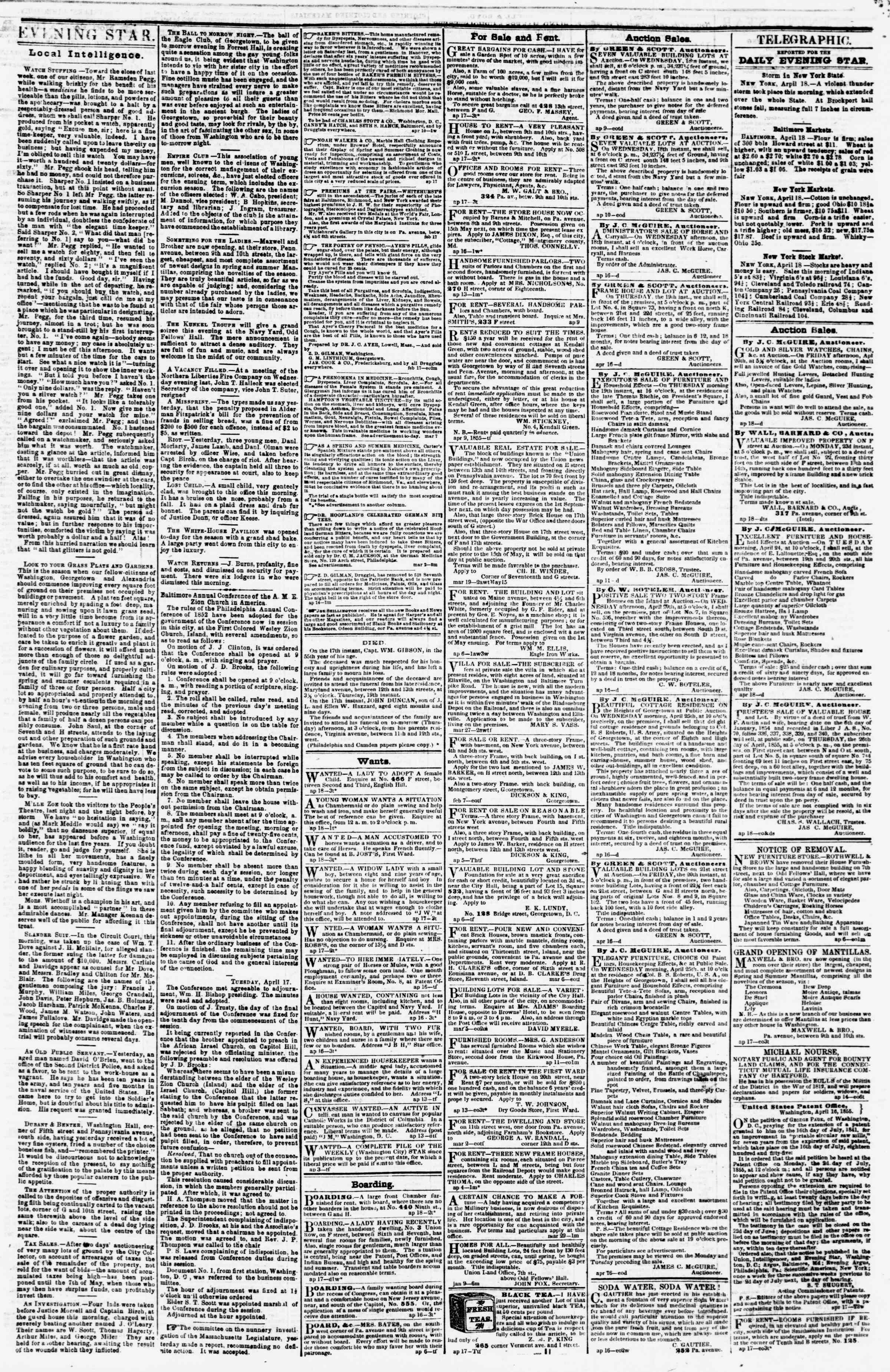 Newspaper of Evening Star dated April 18, 1855 Page 3