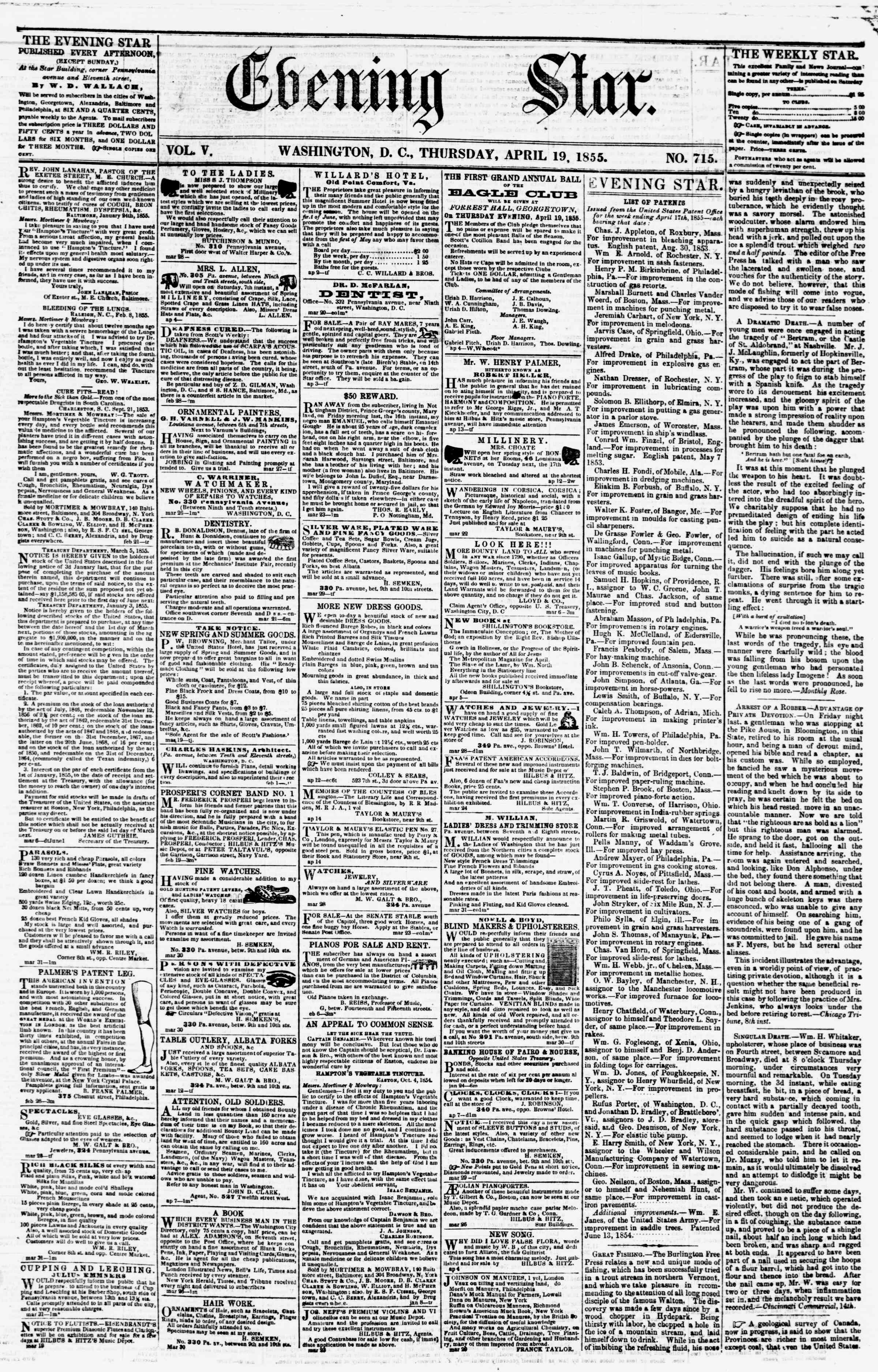 Newspaper of Evening Star dated April 19, 1855 Page 1
