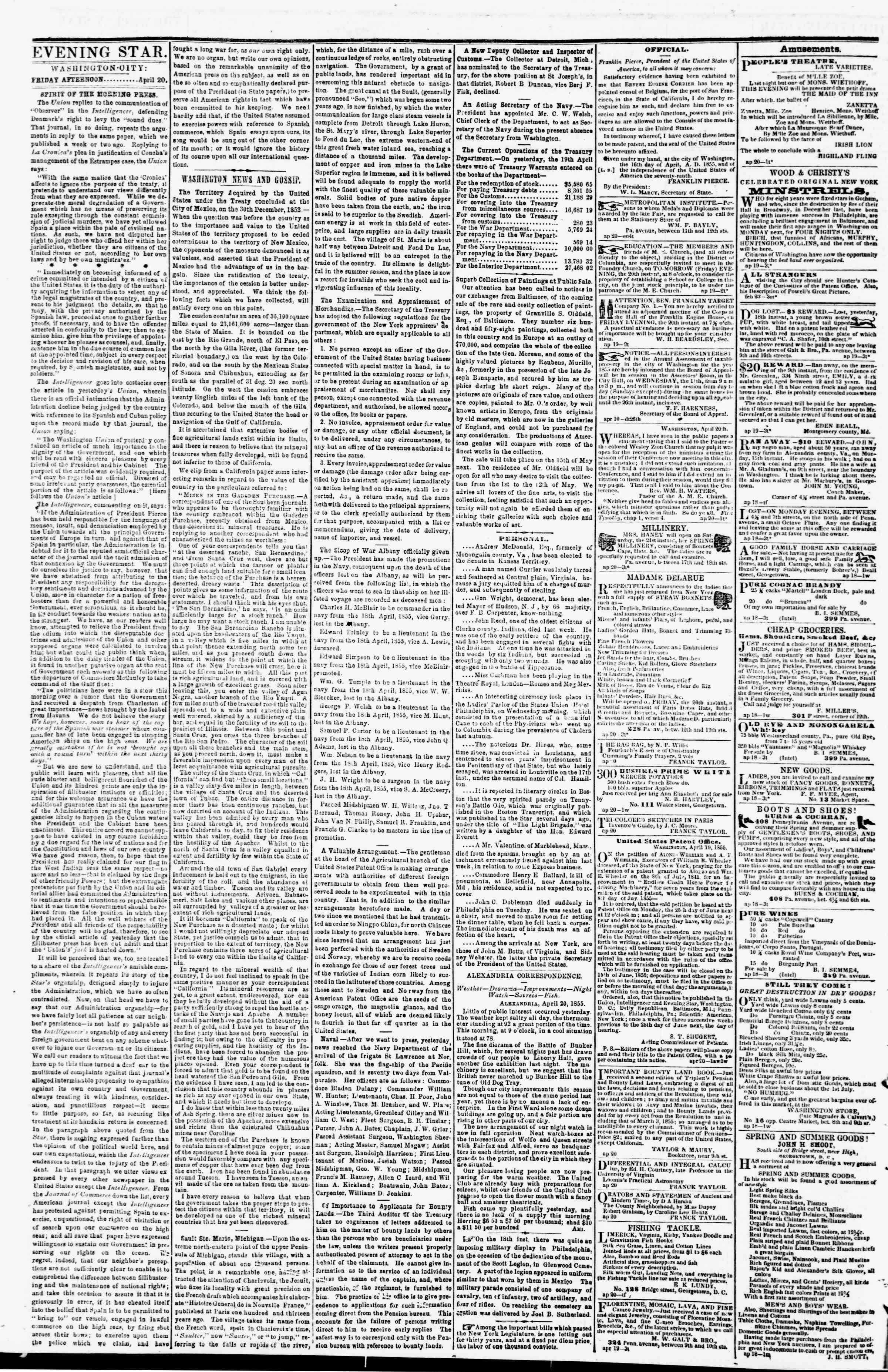 Newspaper of Evening Star dated April 20, 1855 Page 2