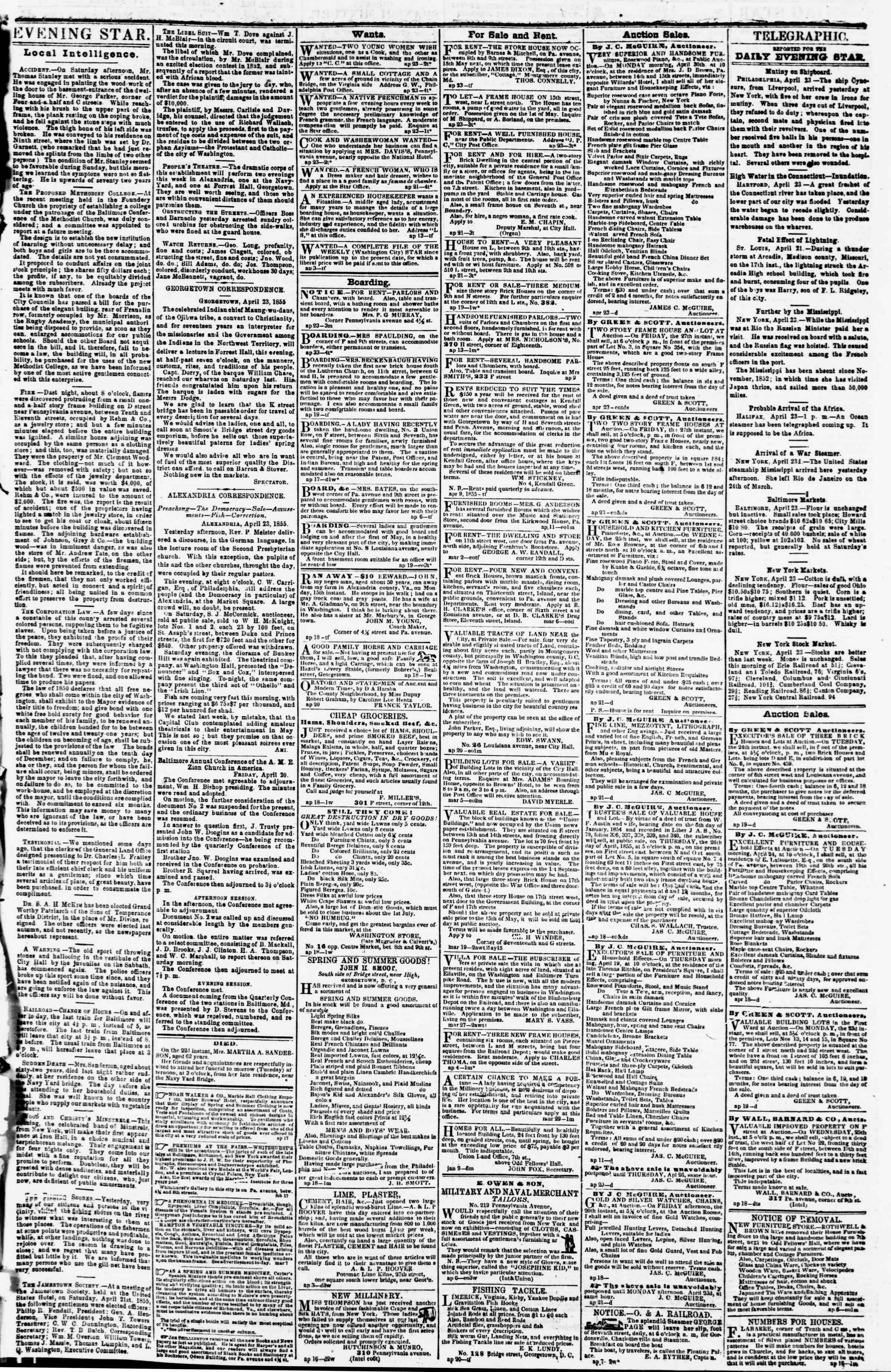Newspaper of Evening Star dated April 23, 1855 Page 3