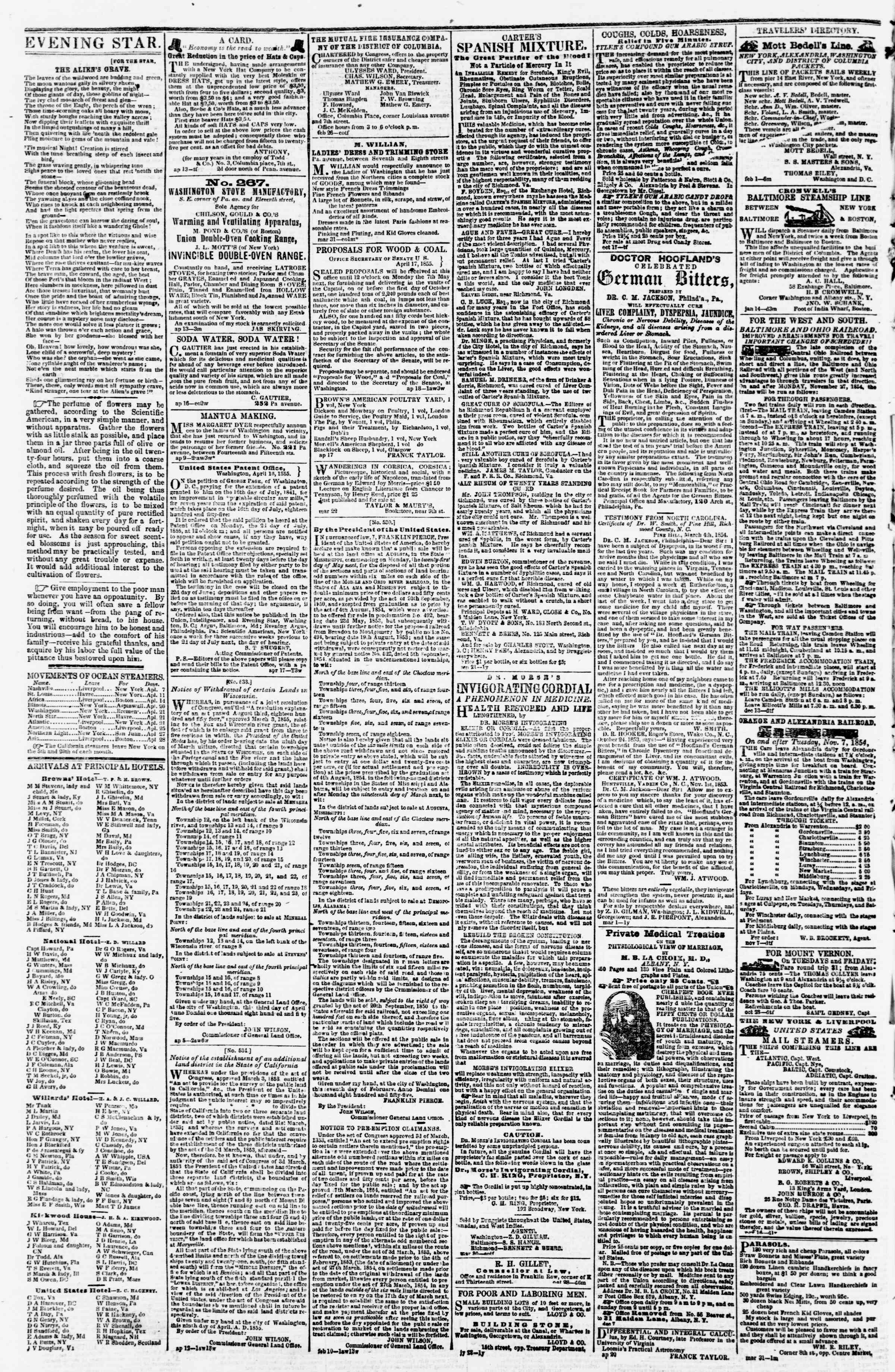 Newspaper of Evening Star dated April 23, 1855 Page 4