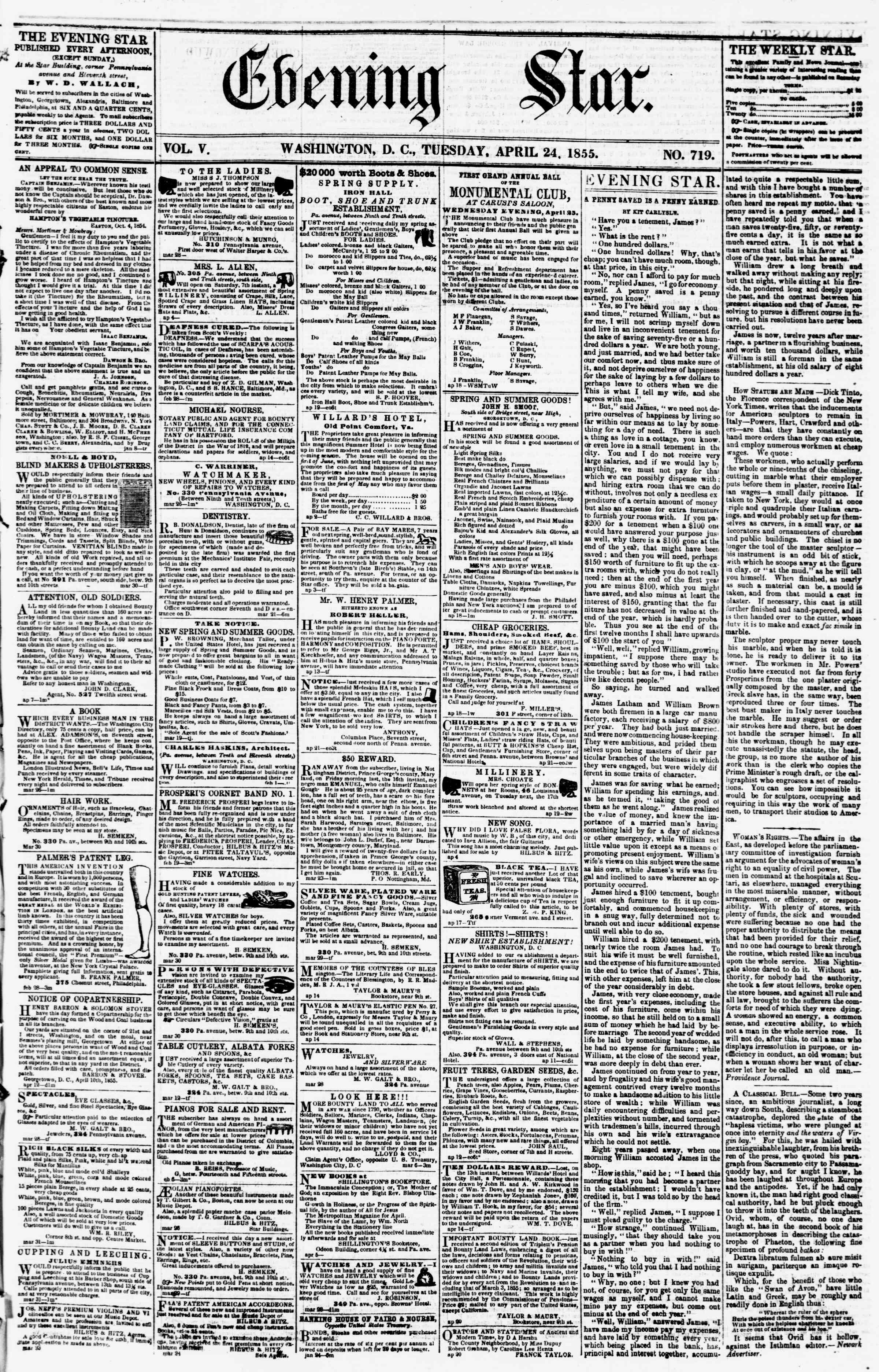 Newspaper of Evening Star dated April 24, 1855 Page 1