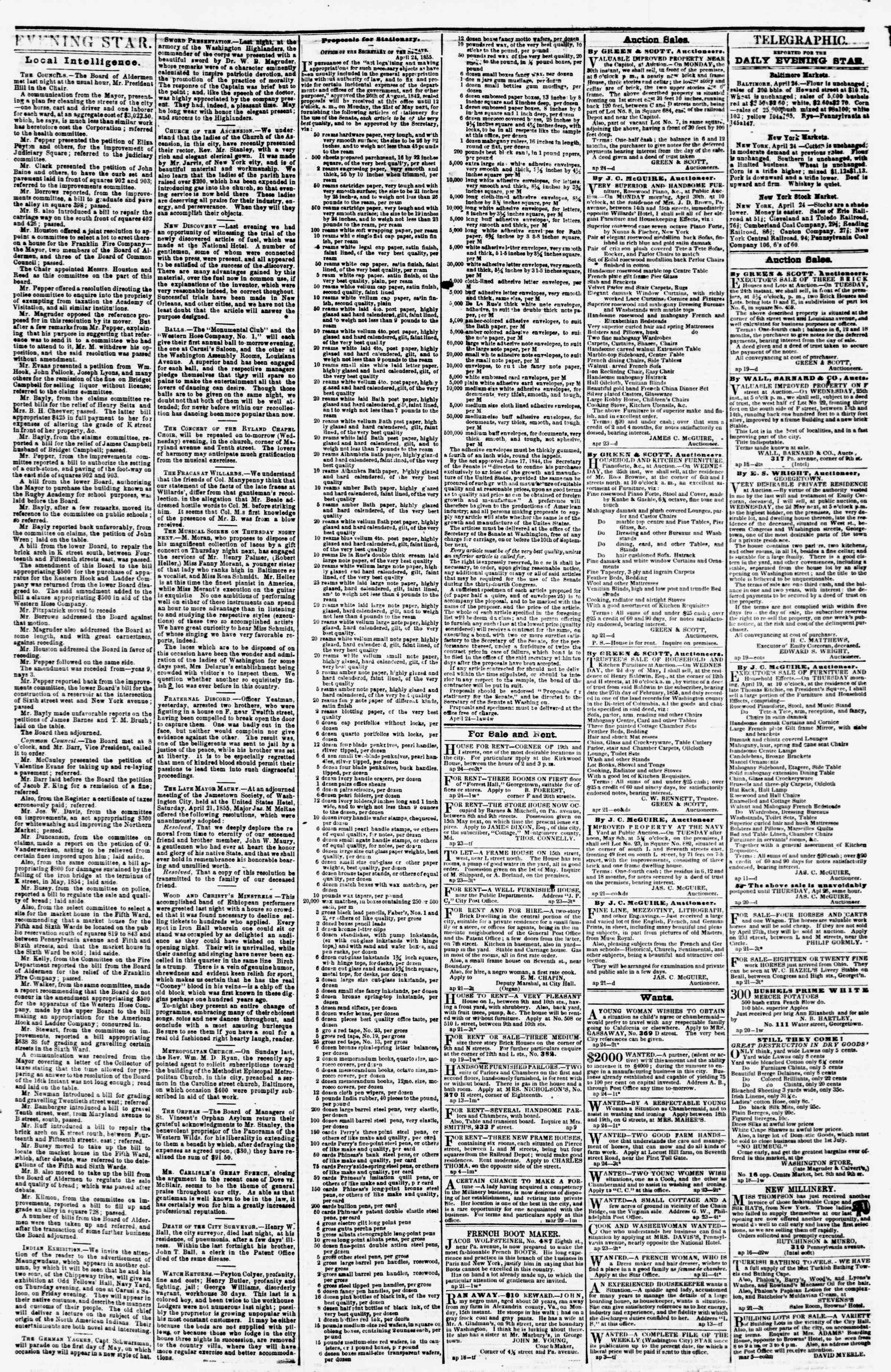Newspaper of Evening Star dated April 24, 1855 Page 3
