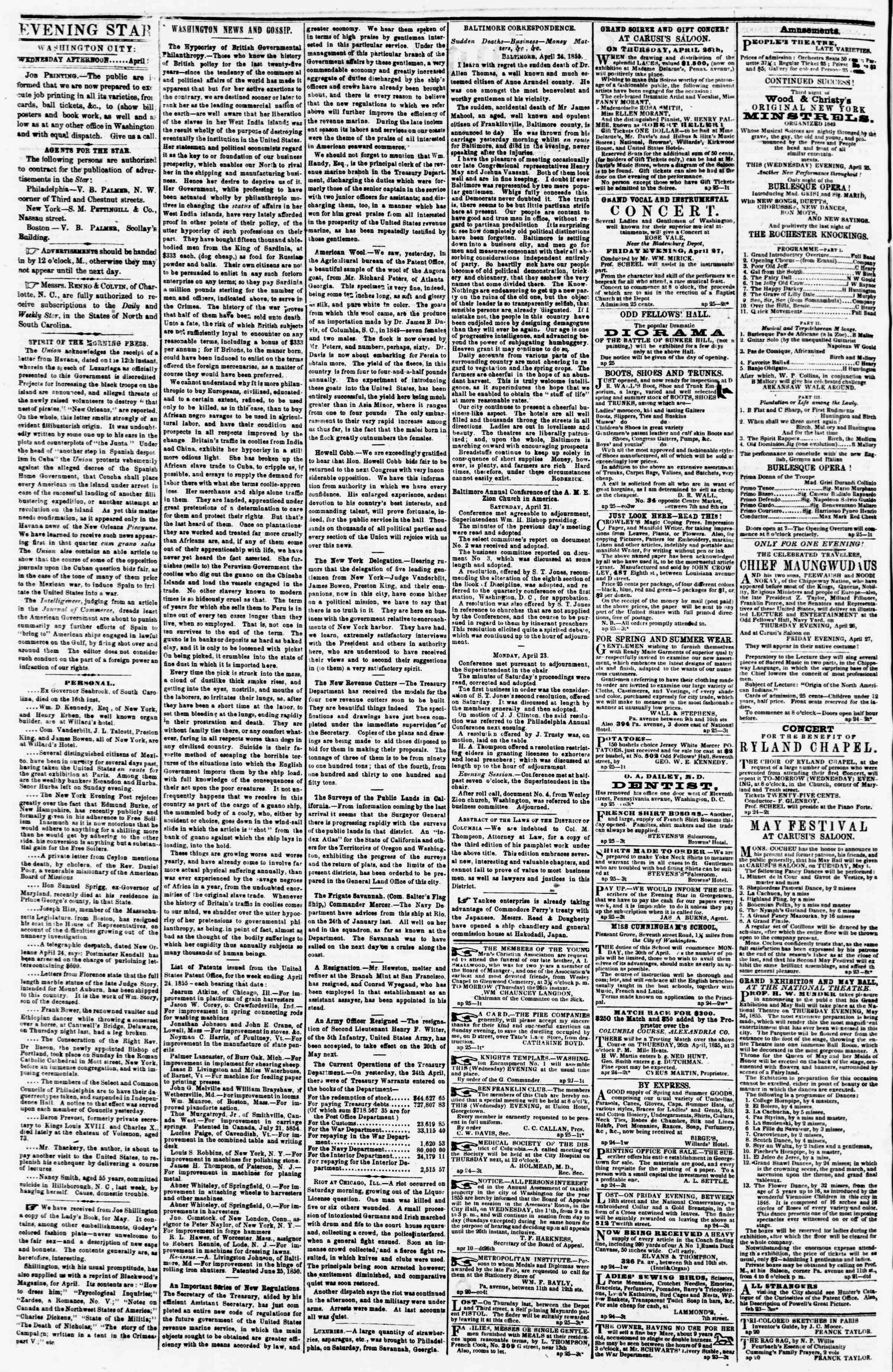Newspaper of Evening Star dated April 25, 1855 Page 2