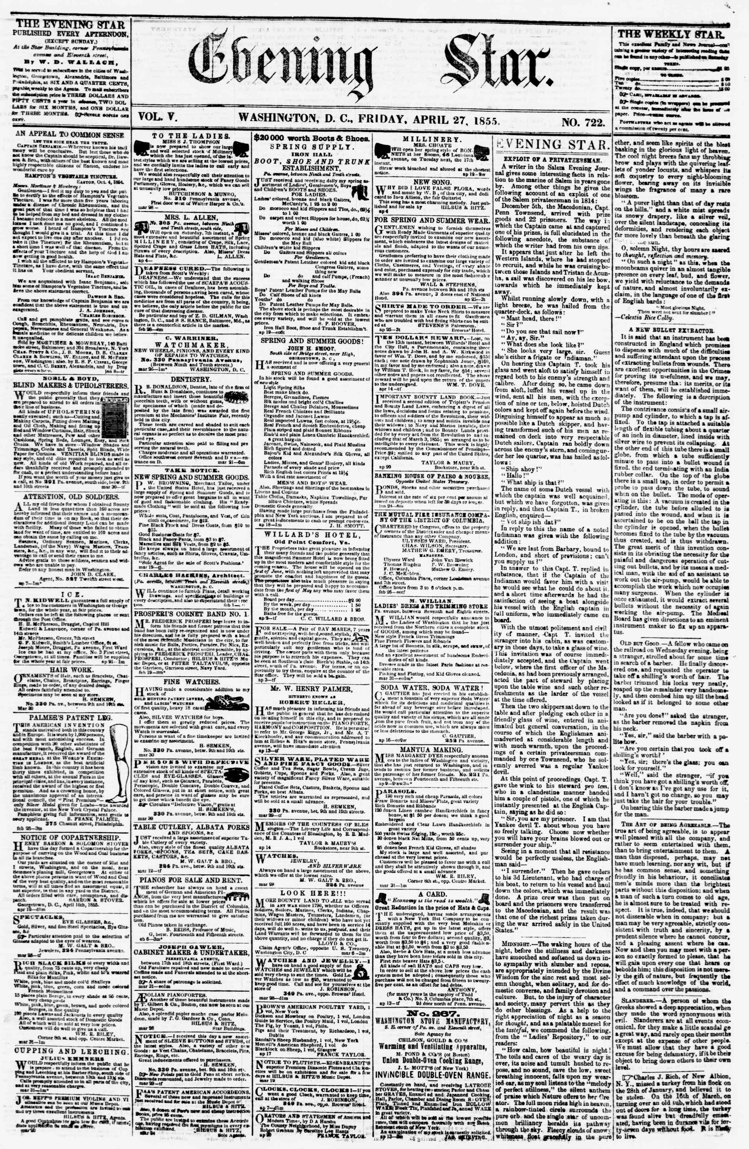 Newspaper of Evening Star dated April 27, 1855 Page 1