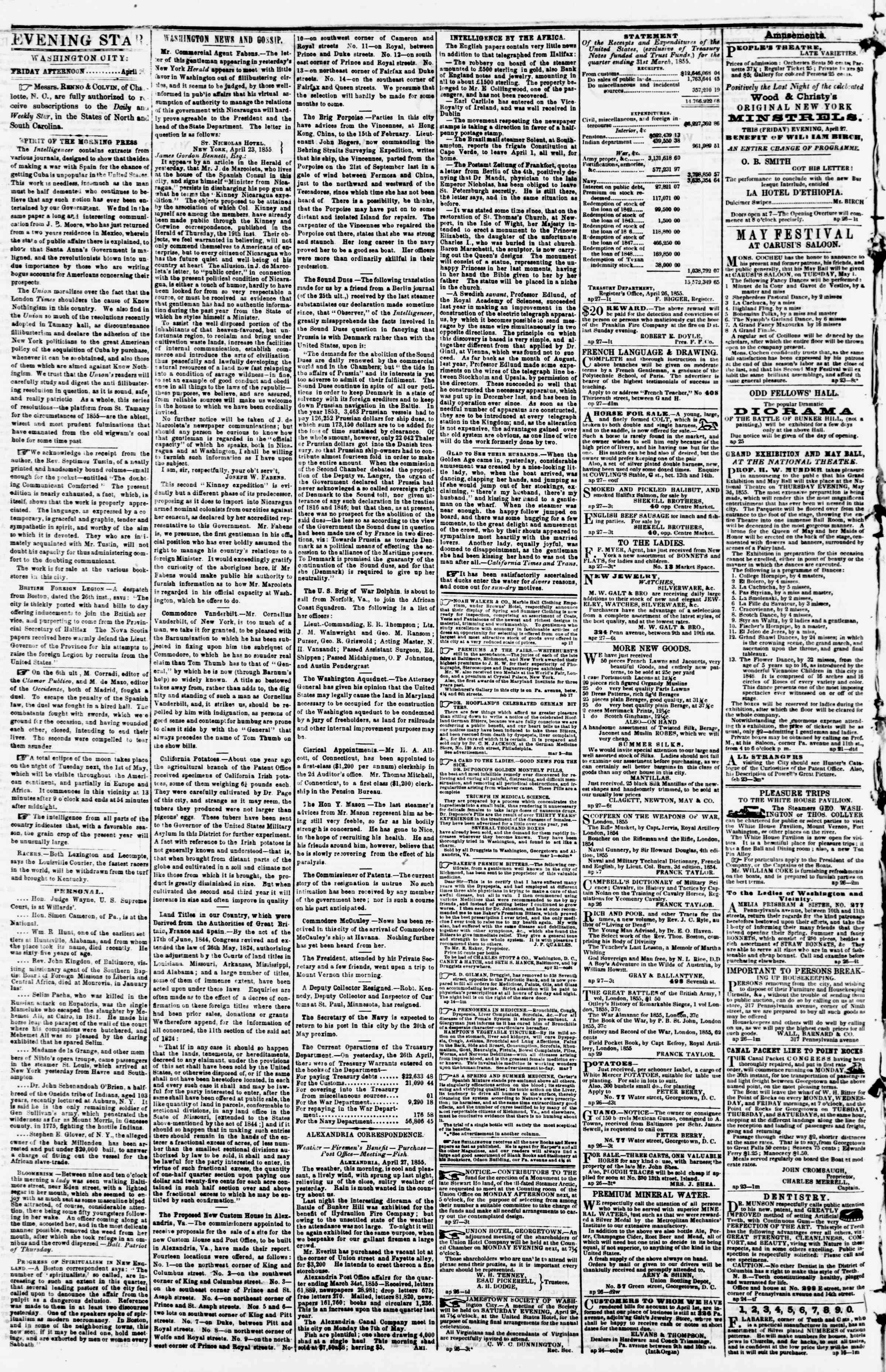 Newspaper of Evening Star dated April 27, 1855 Page 2