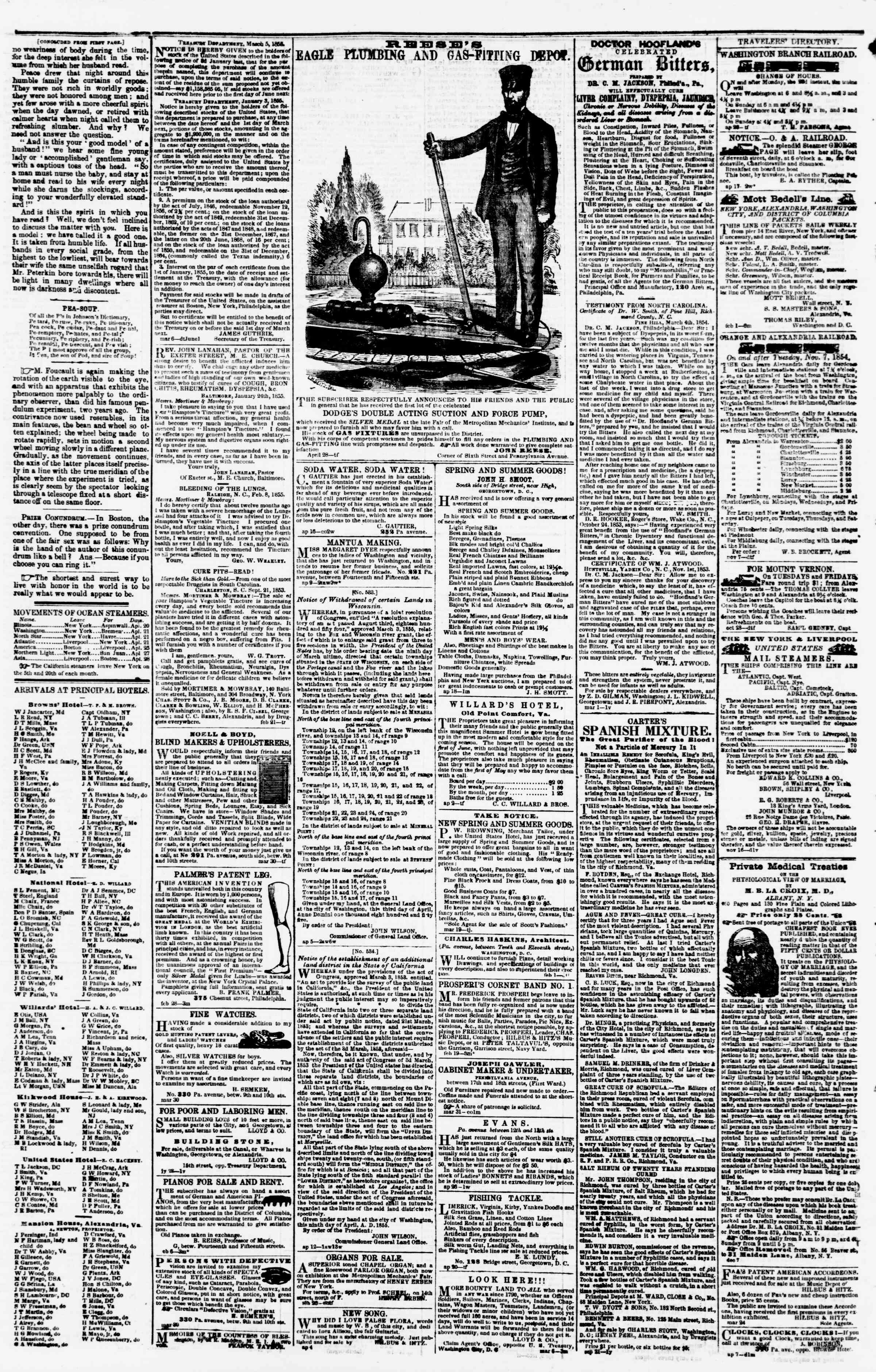 Newspaper of Evening Star dated April 30, 1855 Page 4