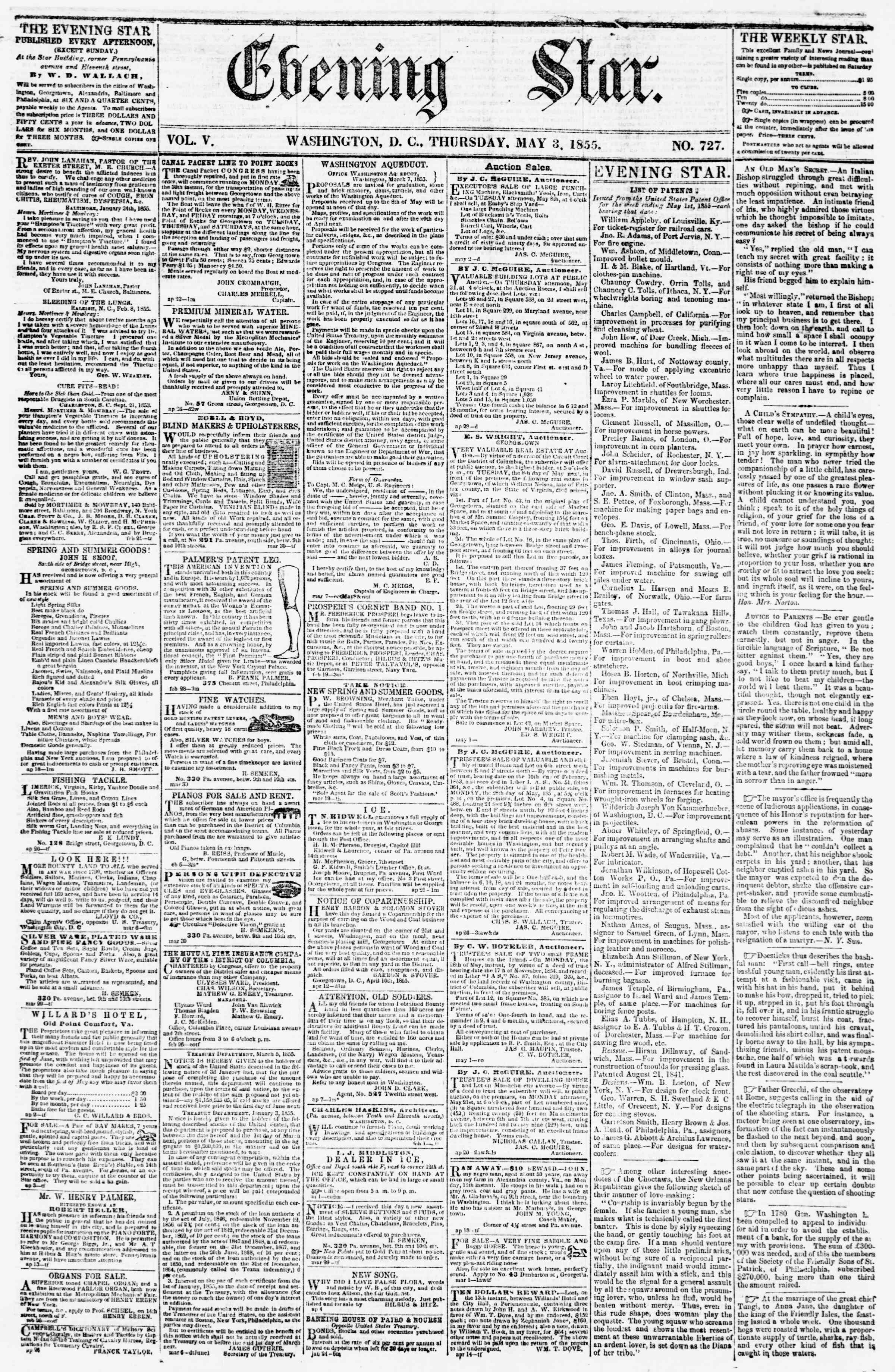 Newspaper of Evening Star dated May 3, 1855 Page 1
