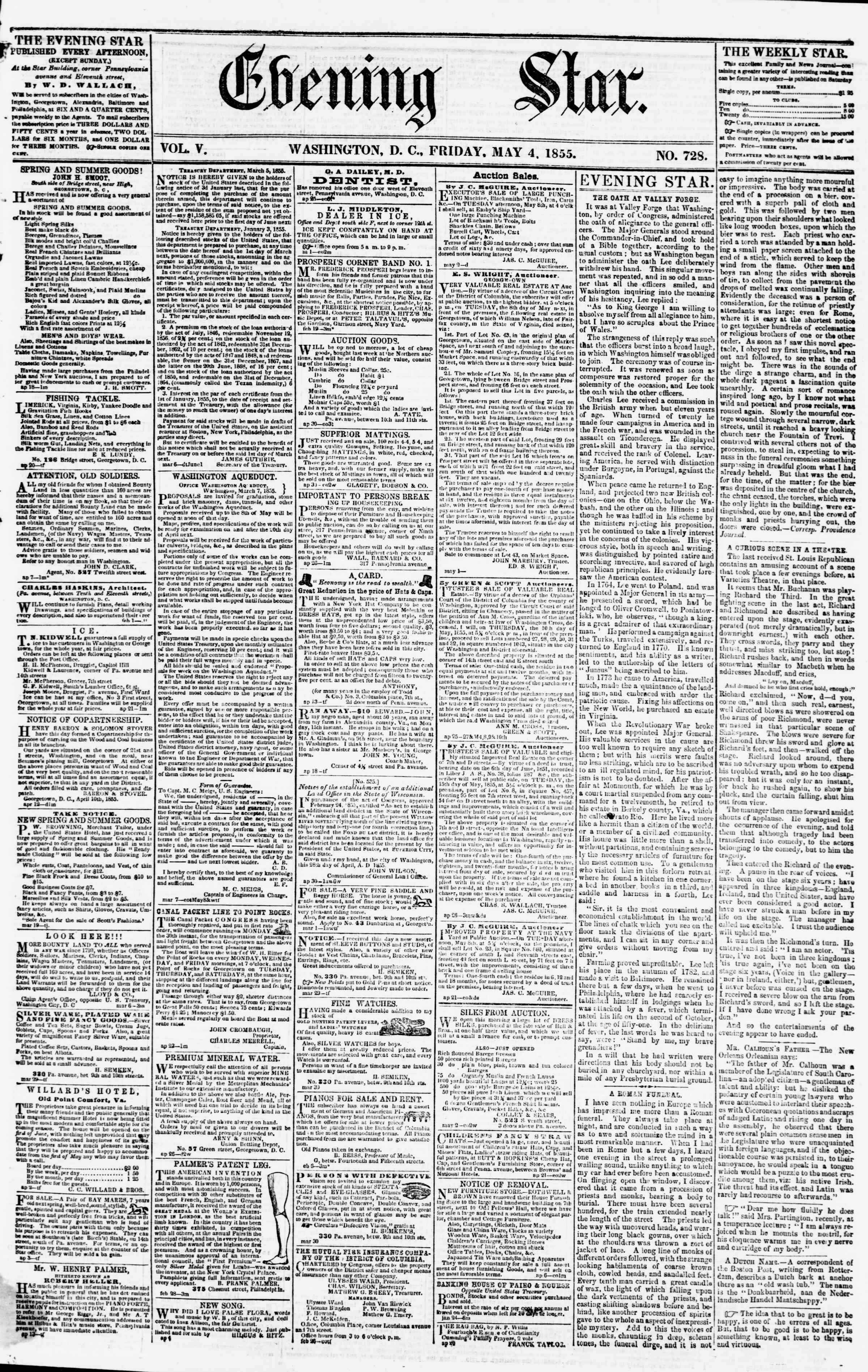 Newspaper of Evening Star dated May 4, 1855 Page 1
