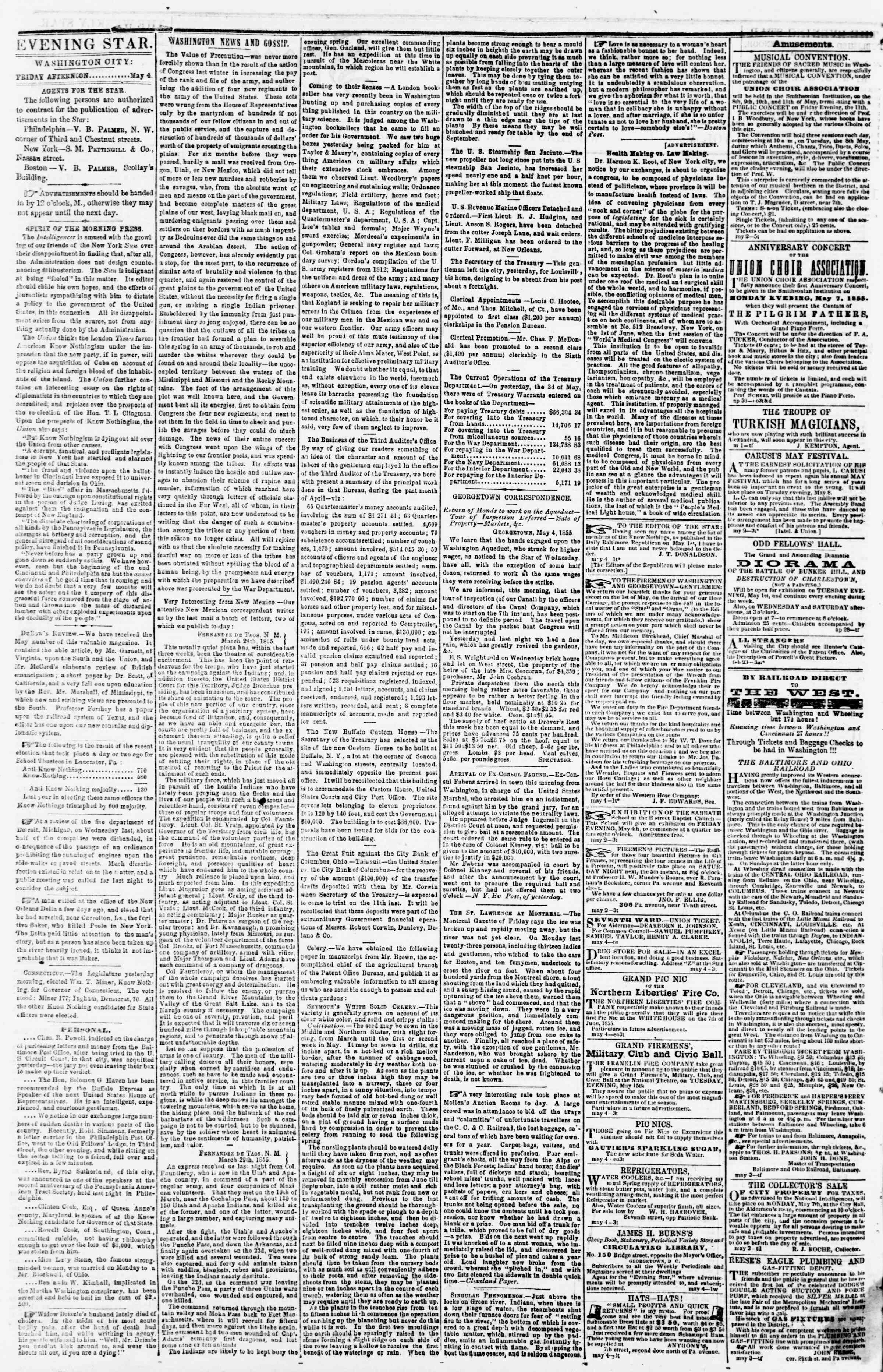 Newspaper of Evening Star dated May 4, 1855 Page 2