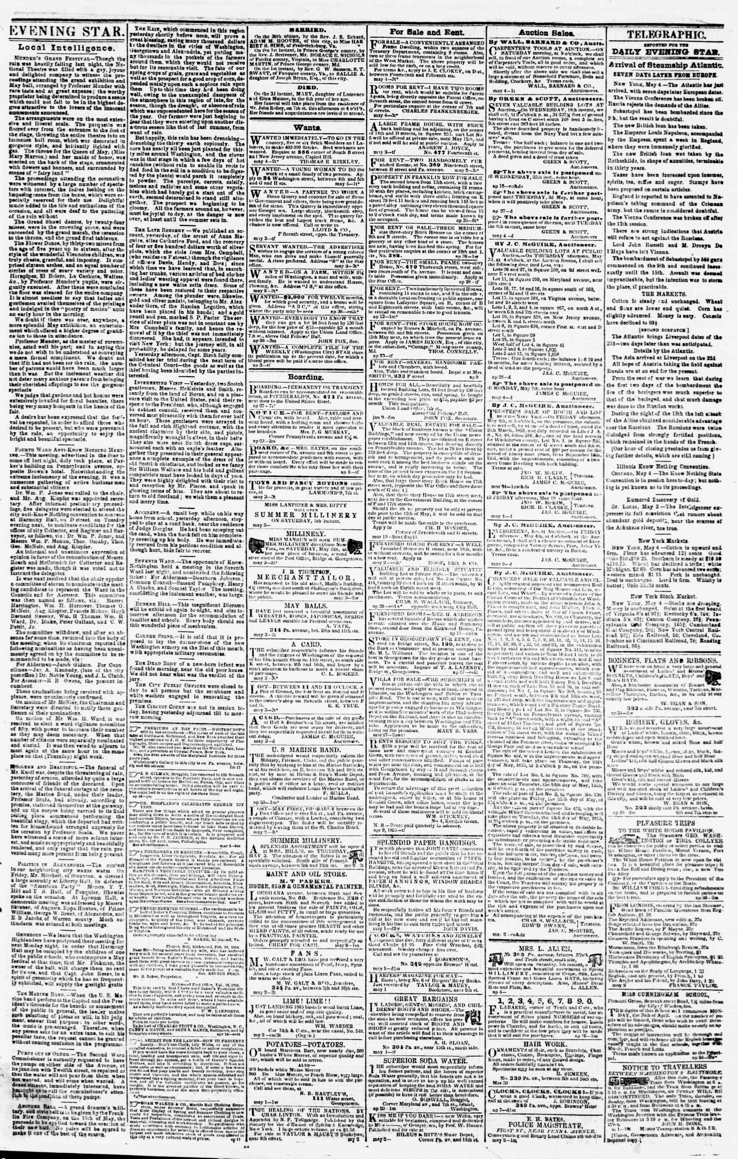 Newspaper of Evening Star dated May 4, 1855 Page 3