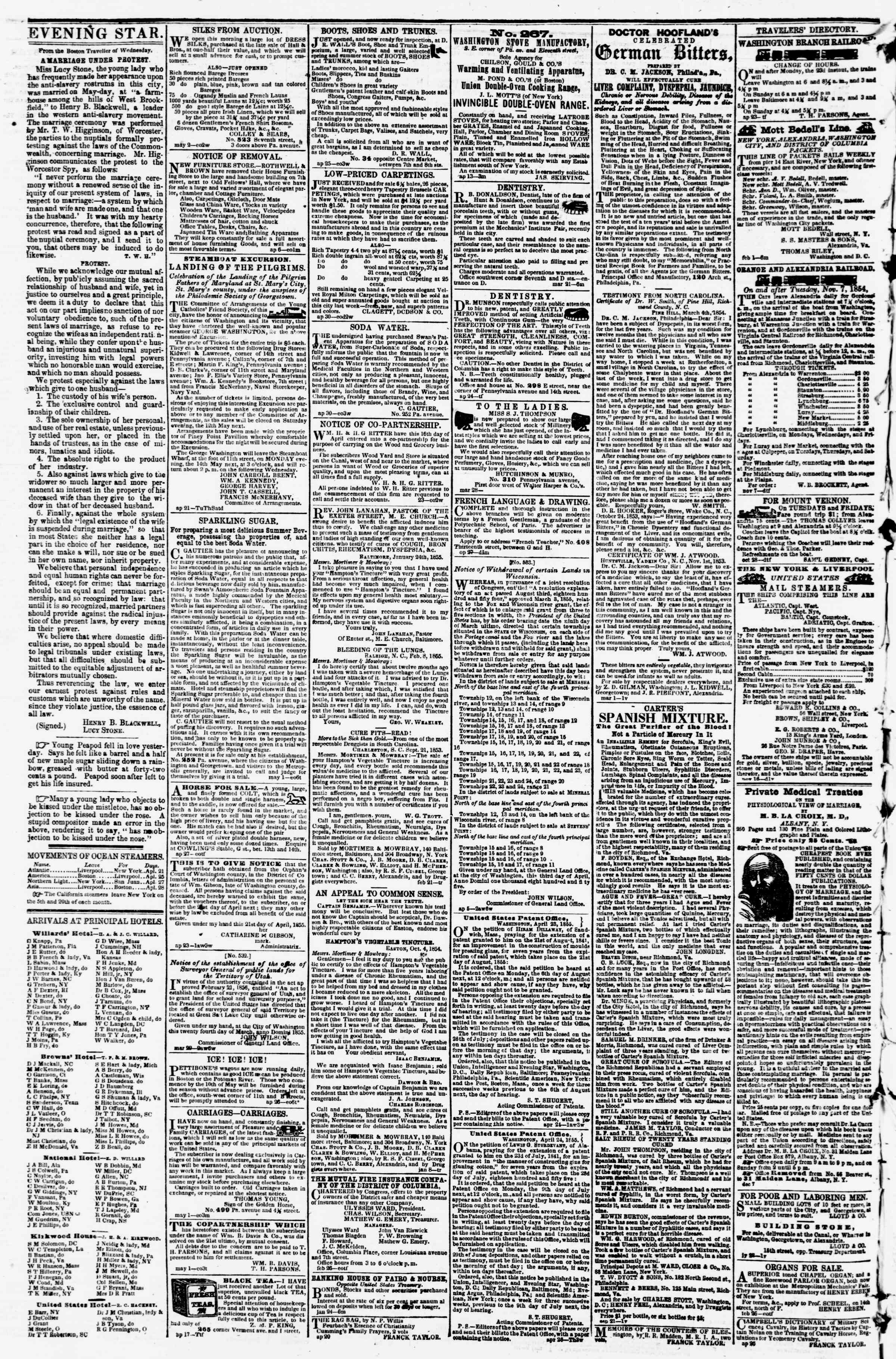 Newspaper of Evening Star dated May 5, 1855 Page 4